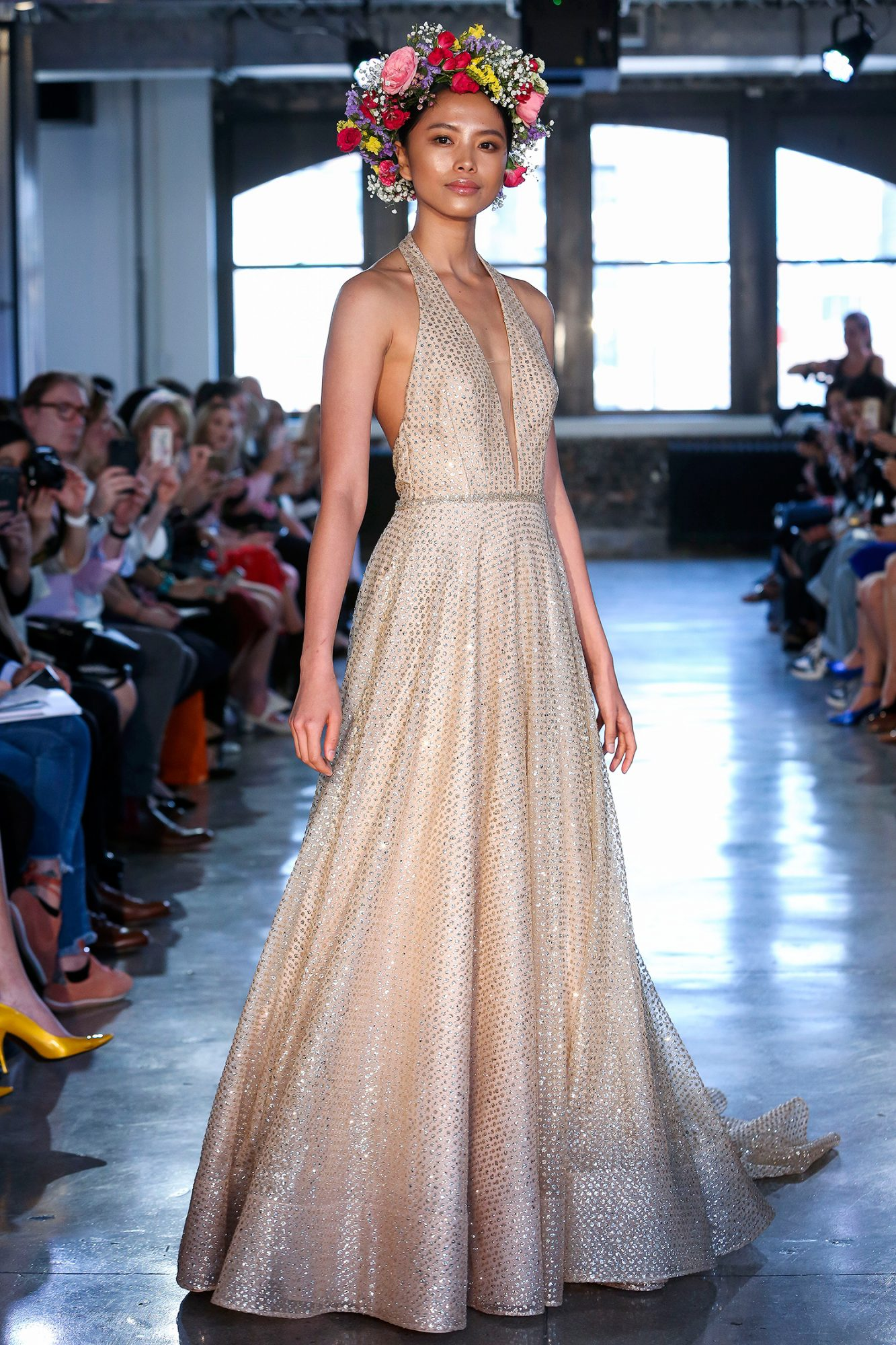 wtoo watters wedding dress spring 2019 champagne plunging neck halter