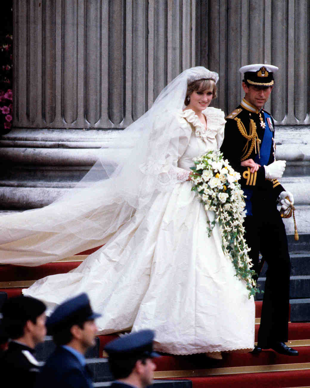 Princess Diana at her wedding to Prince Charles.