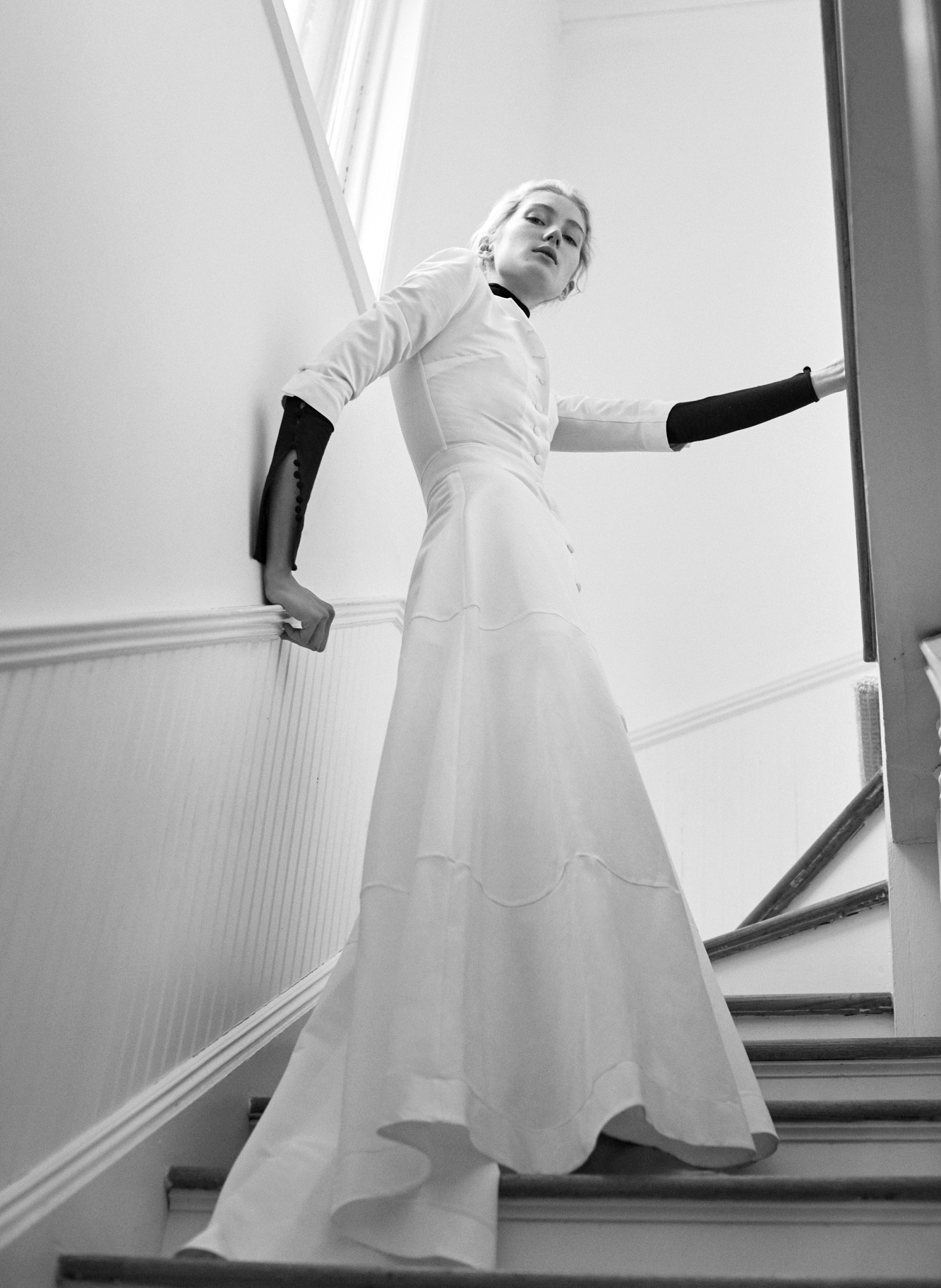 Lein wedding dress spring 2019 long sleeve a-line with buttons down middle