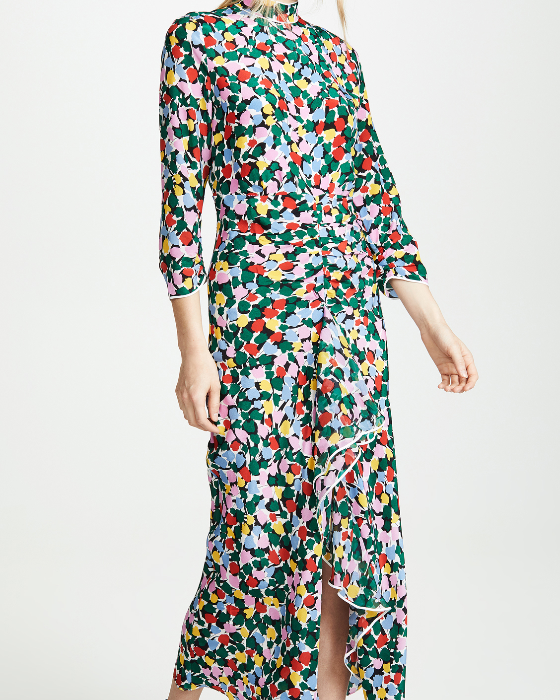 high neck long sleeved printed mob dress