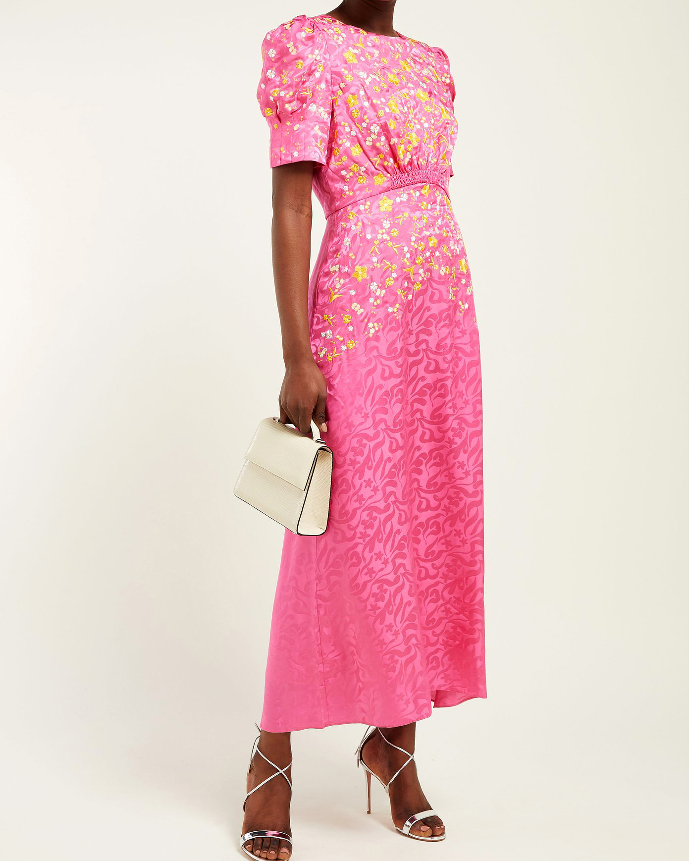 pink floral-embroidered silk printed mob dress