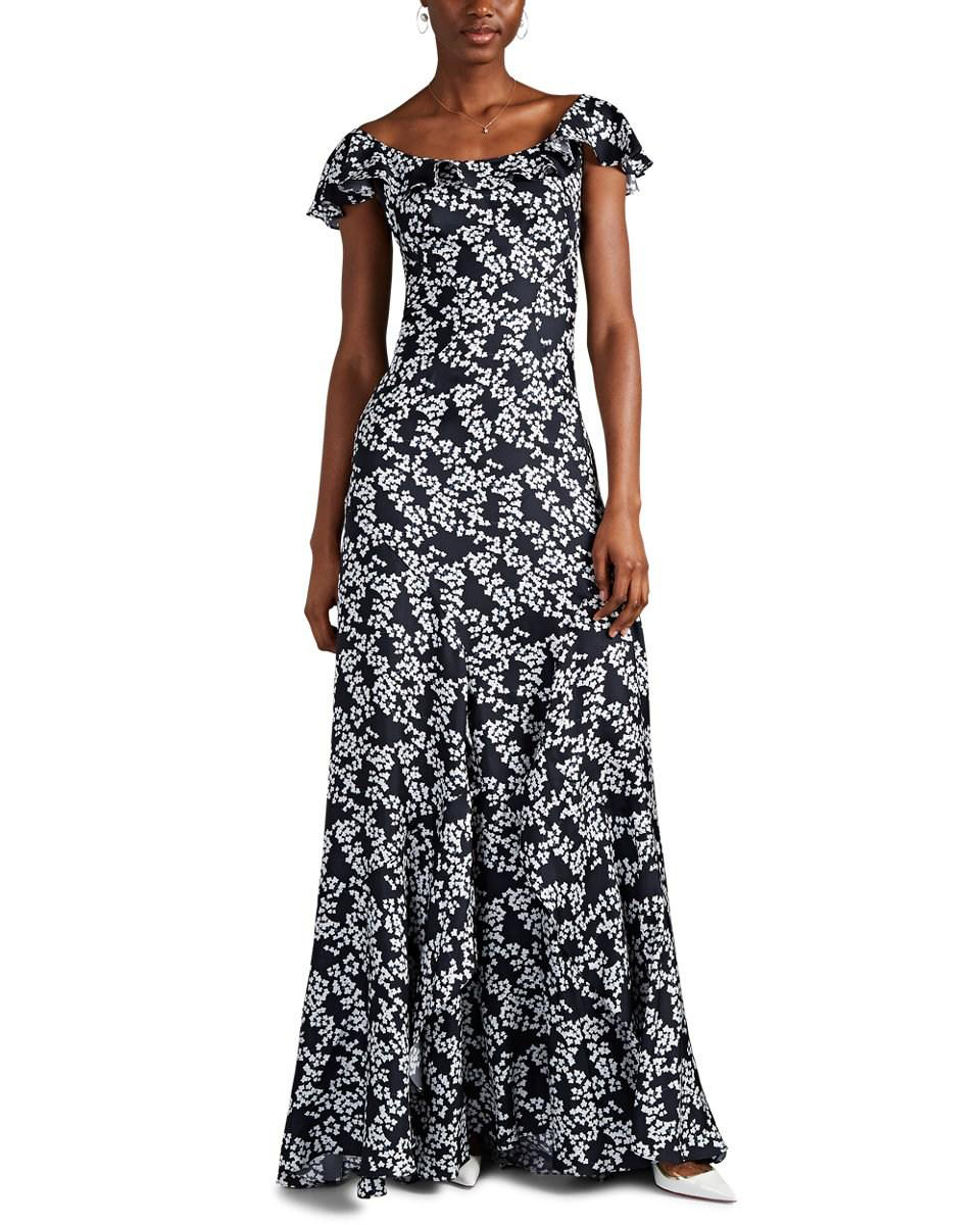 floral silk twill printed mob dress