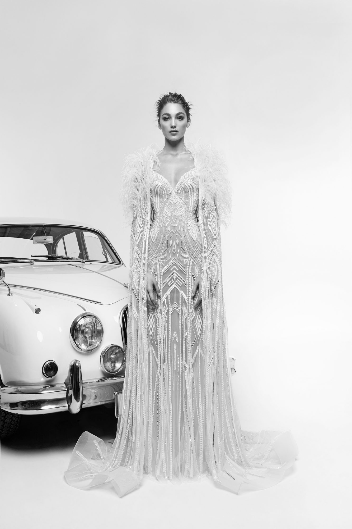 zuhair murad wedding dress spring 2019 mermaid with feathered cape