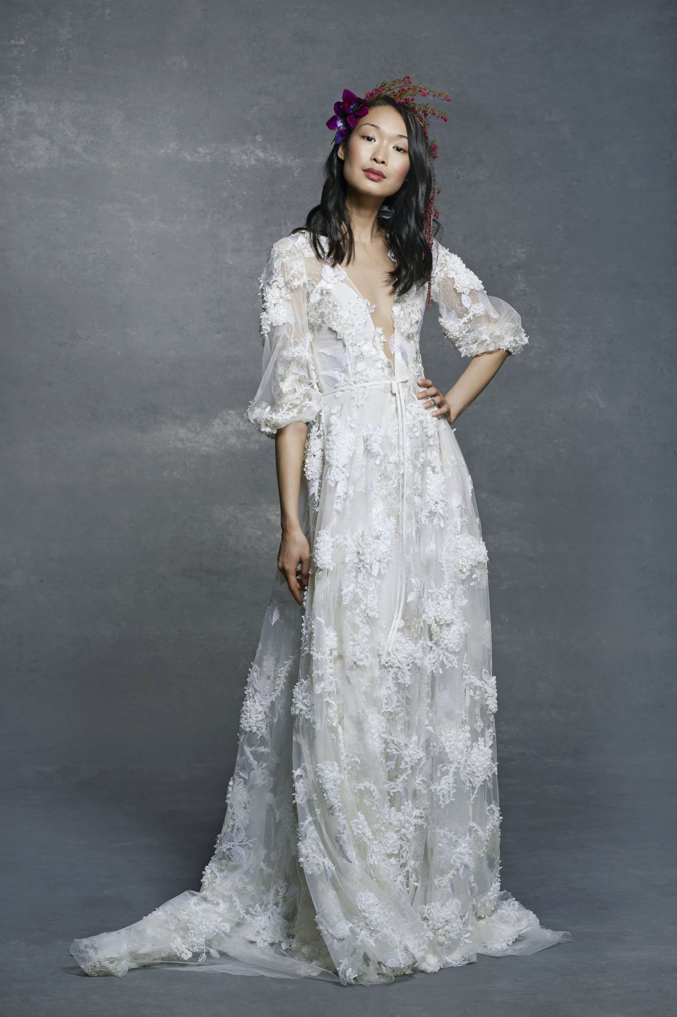 marchesa notte bridal wedding dress deep v-neck with long sleeves
