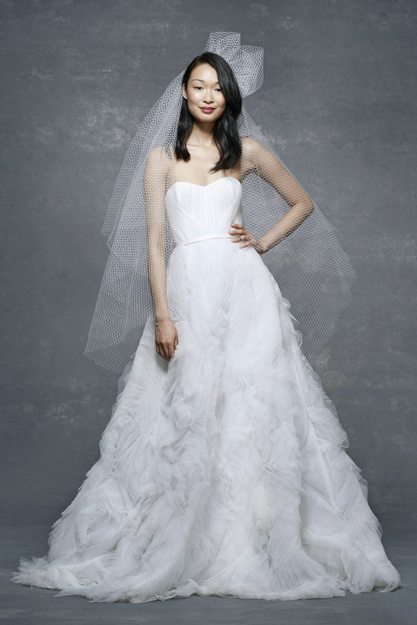 marchesa notte bridal wedding dress off-the-shoulder sweetheart with veil