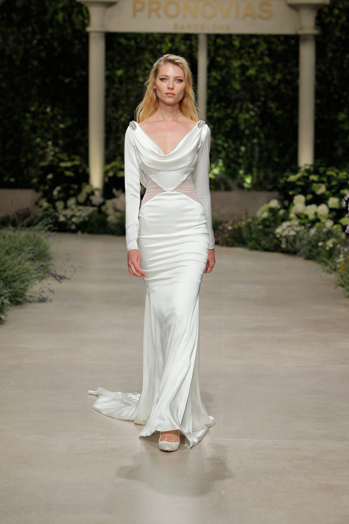 pronovias wedding dress spring 2019 sheer sides drape neckline