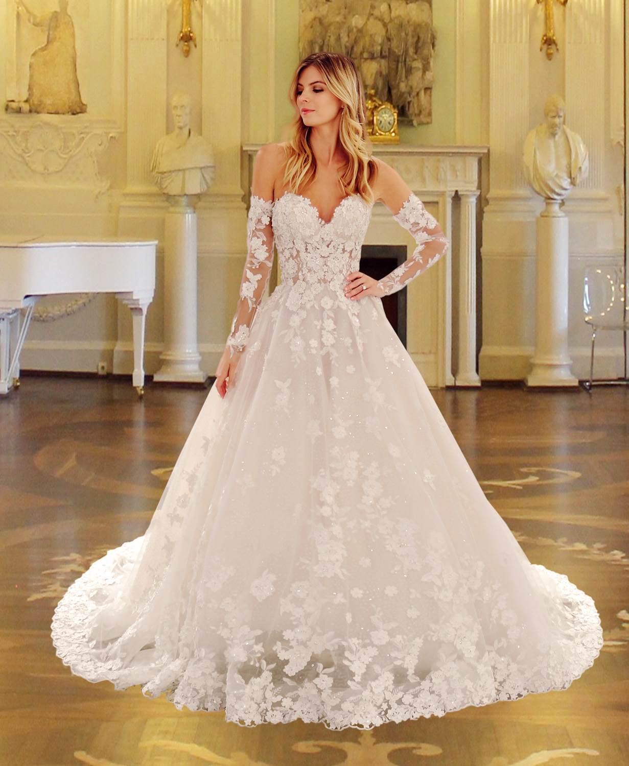 Eve of Milady wedding dress spring 2019 sweetheart ballgown with off the shoulder long sleeves