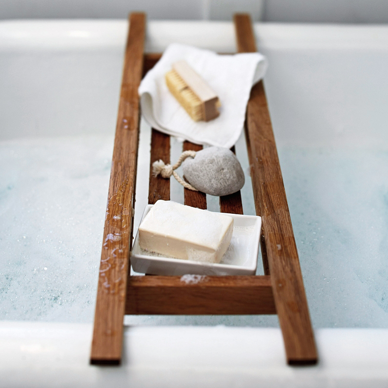 wood anniversary gift bath tray soaps