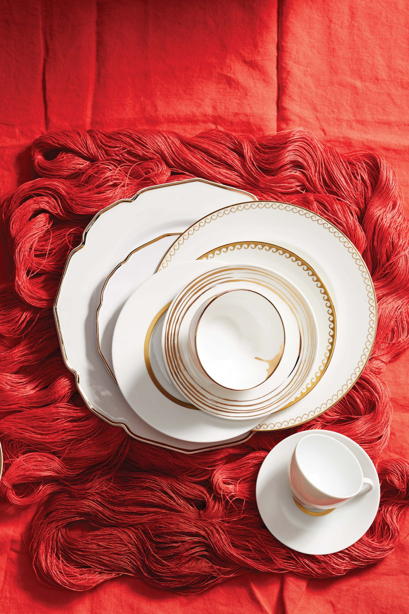 stacked gold trim china dishes