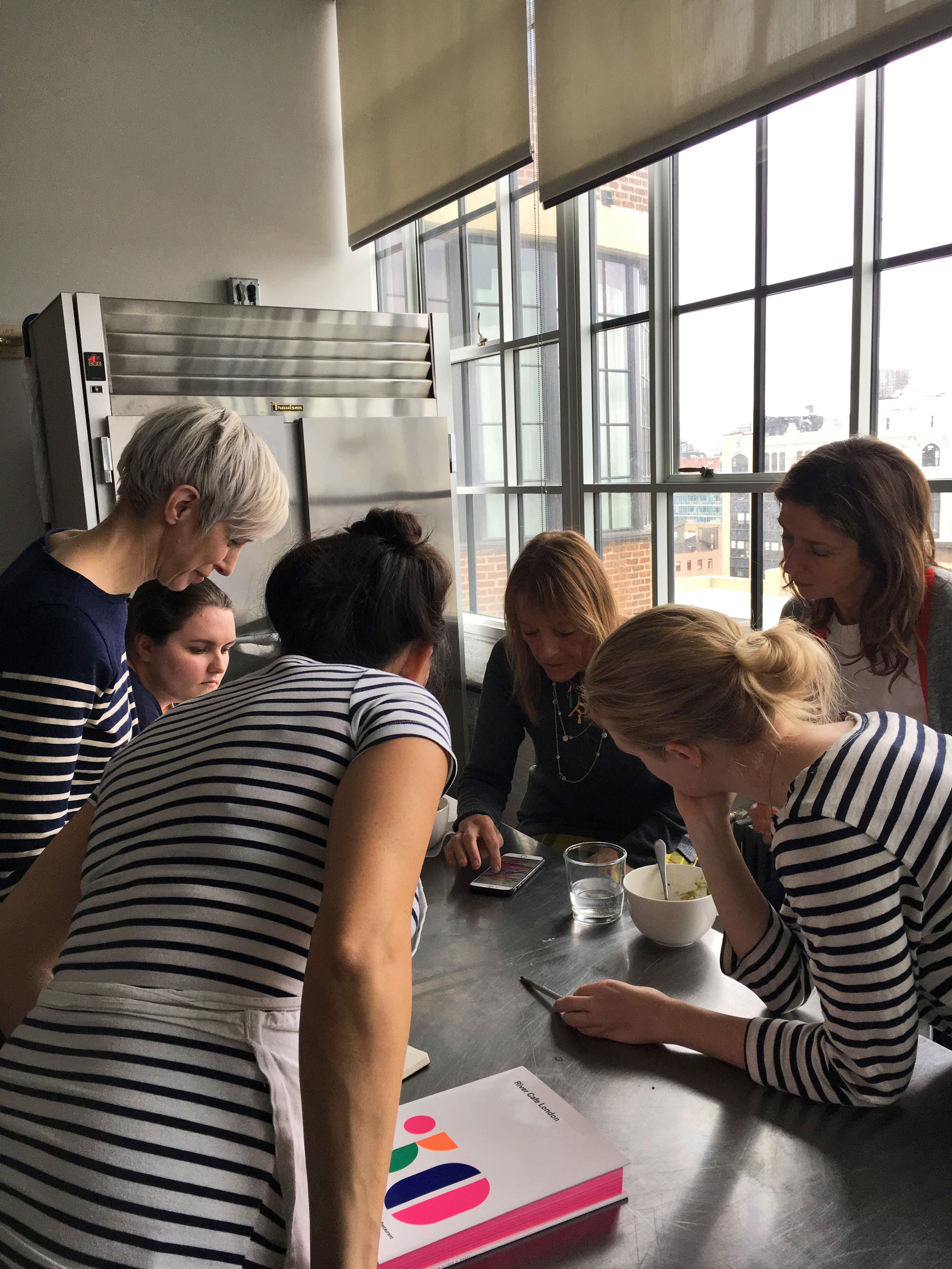test kitchen huddle with Ruth Rogers of the River Café