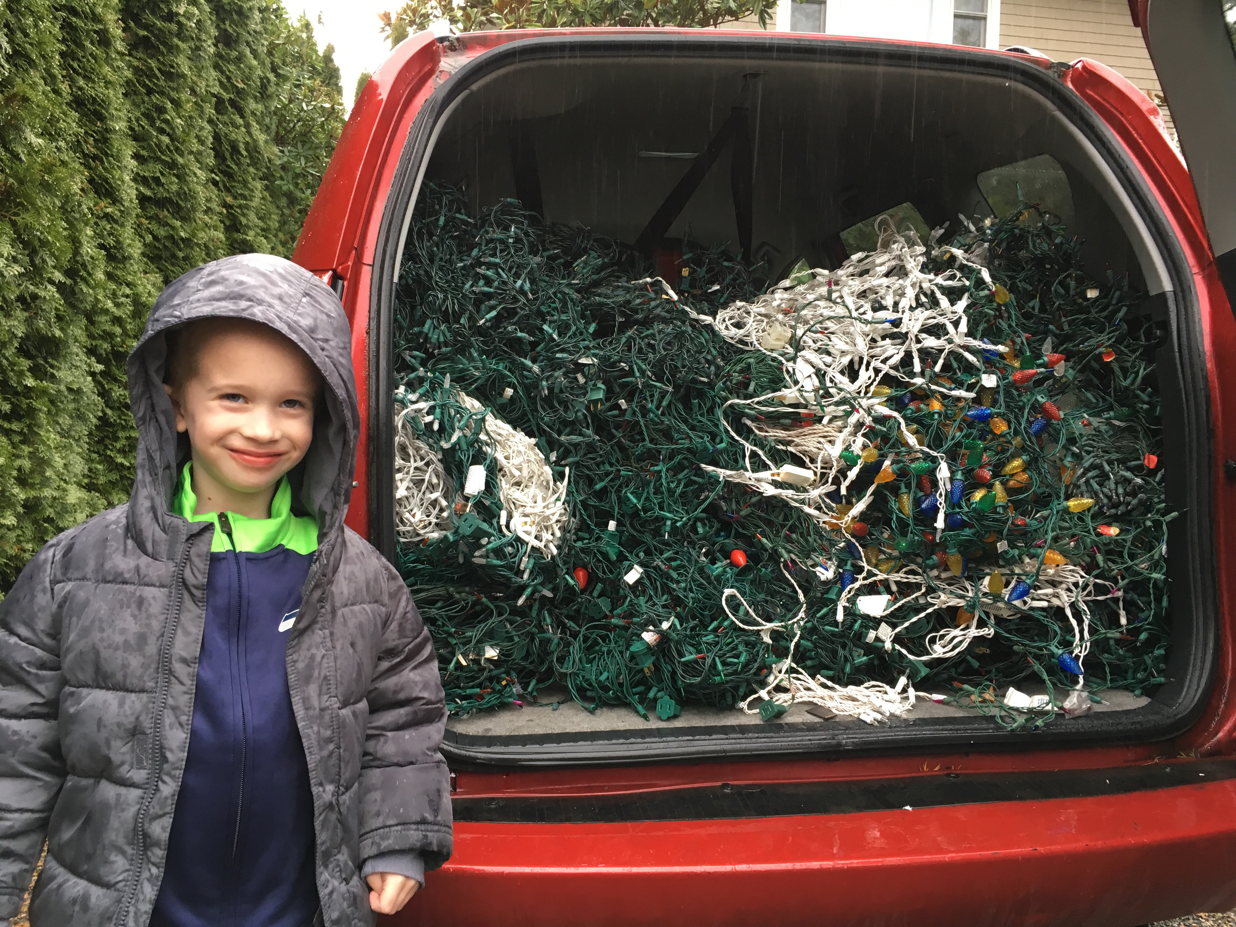 owen with recyclables