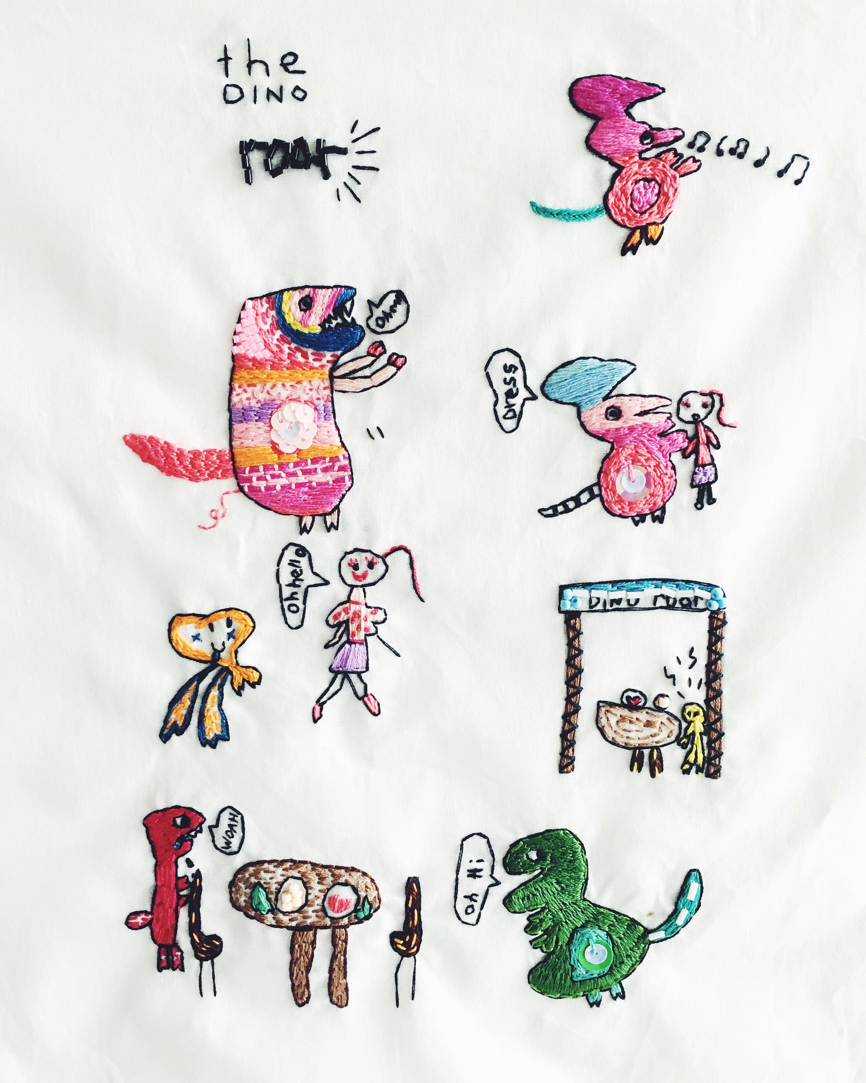 inez embroidered drawings