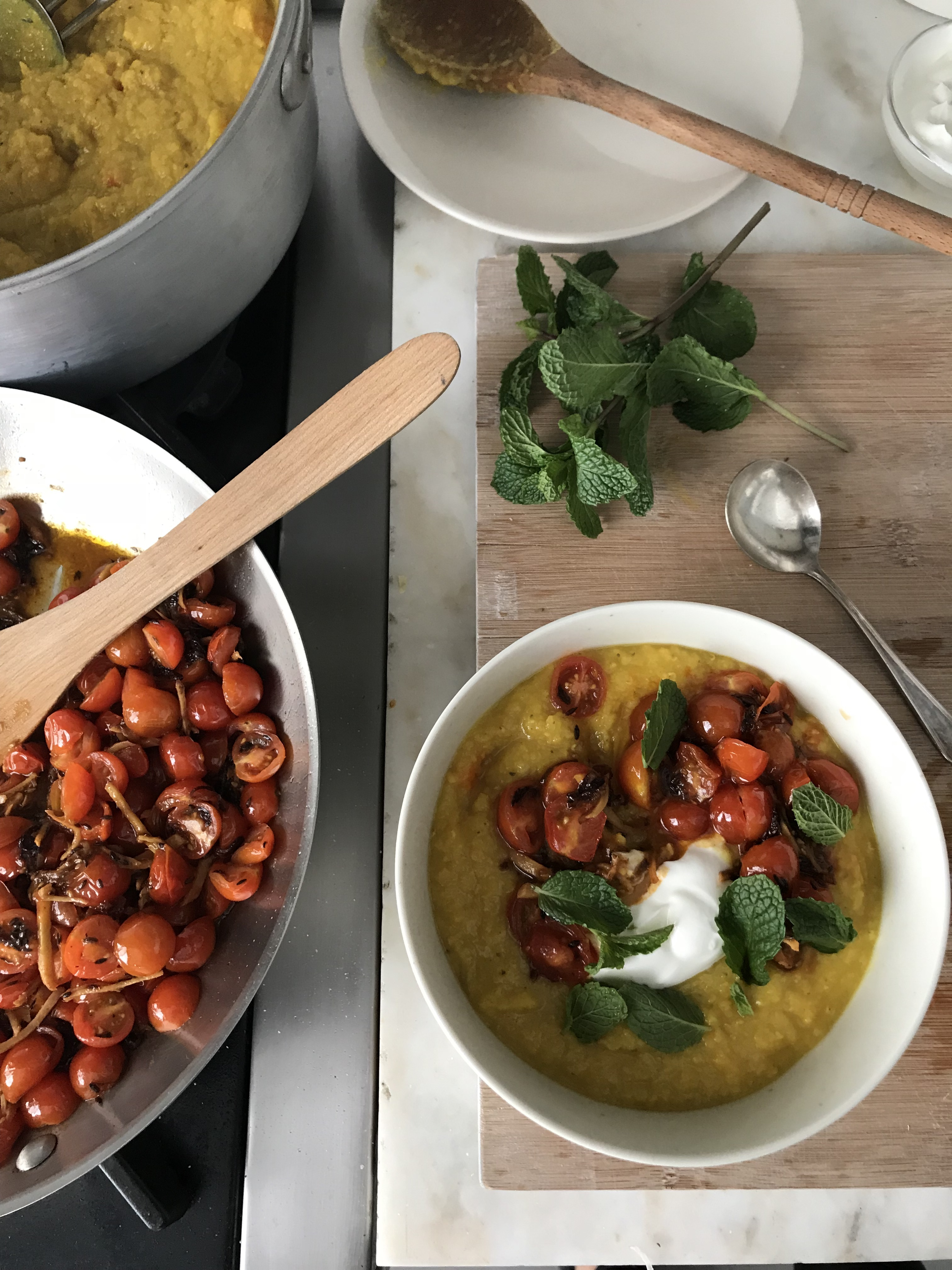 golden dal with gingered tomatoes