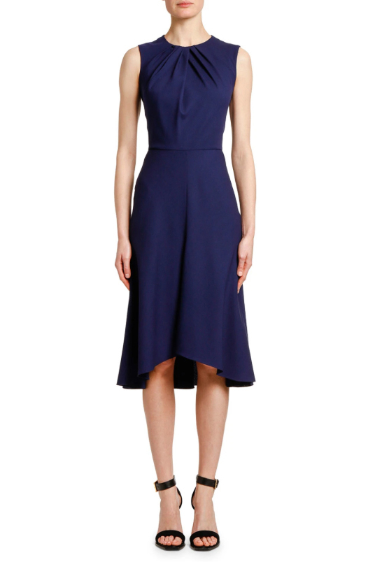 Alexander McQueen Pintucked Neck Wool Crepe Cocktail Dress