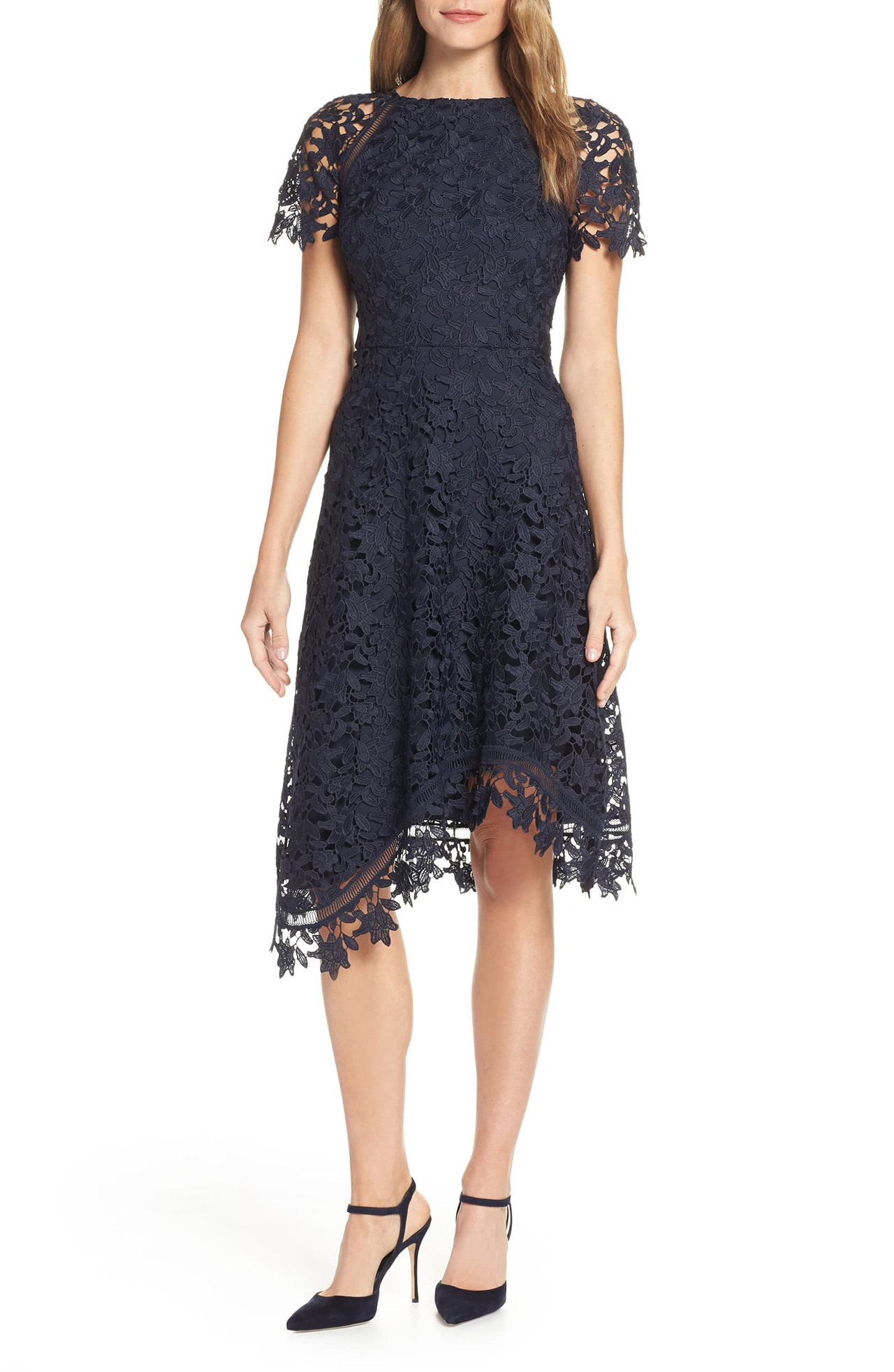 Eliza J Asymmetrical Lace Dress