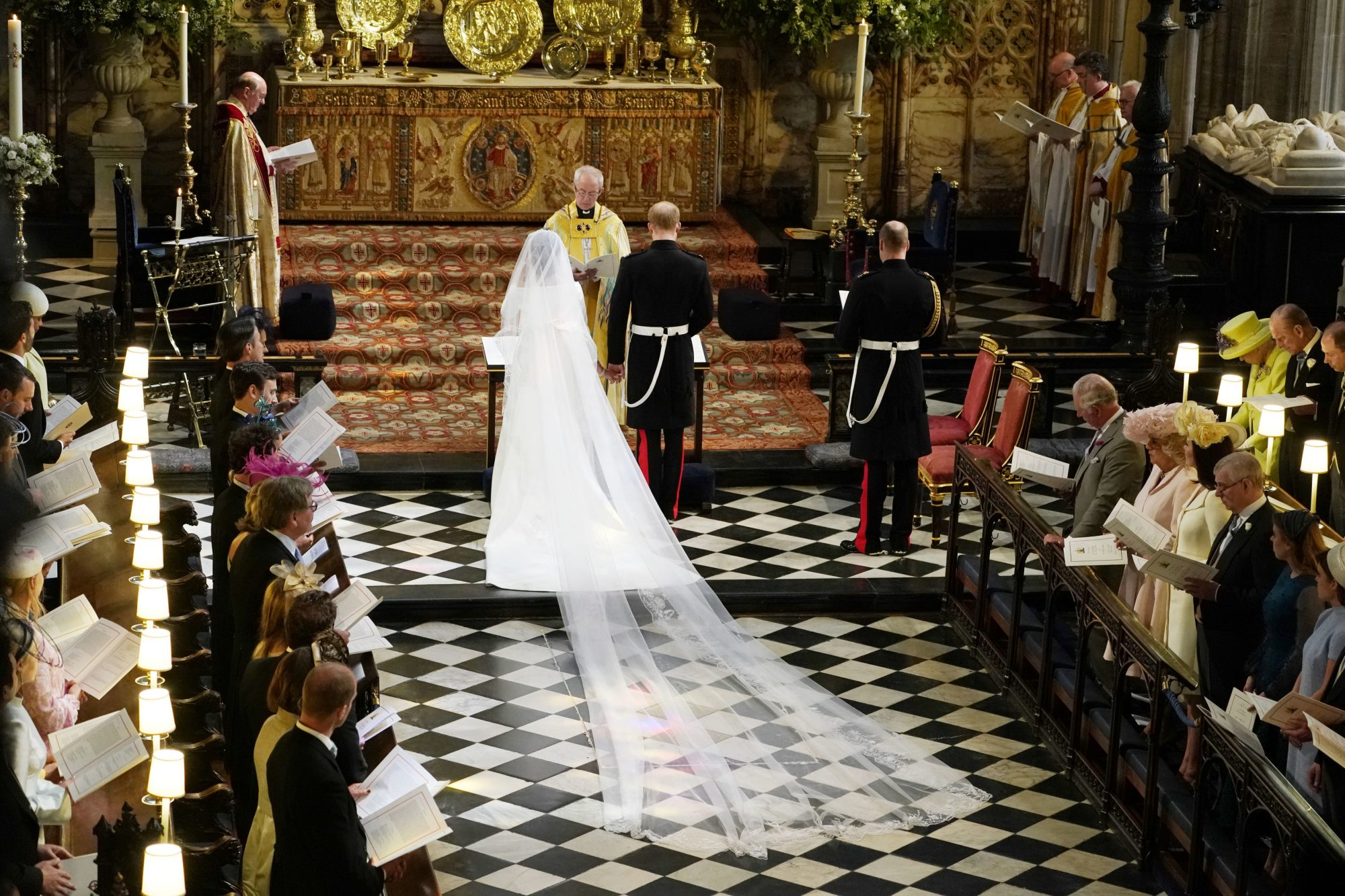 Prince Harry and Meghan Markle ceremony dress train royal wedding 2018