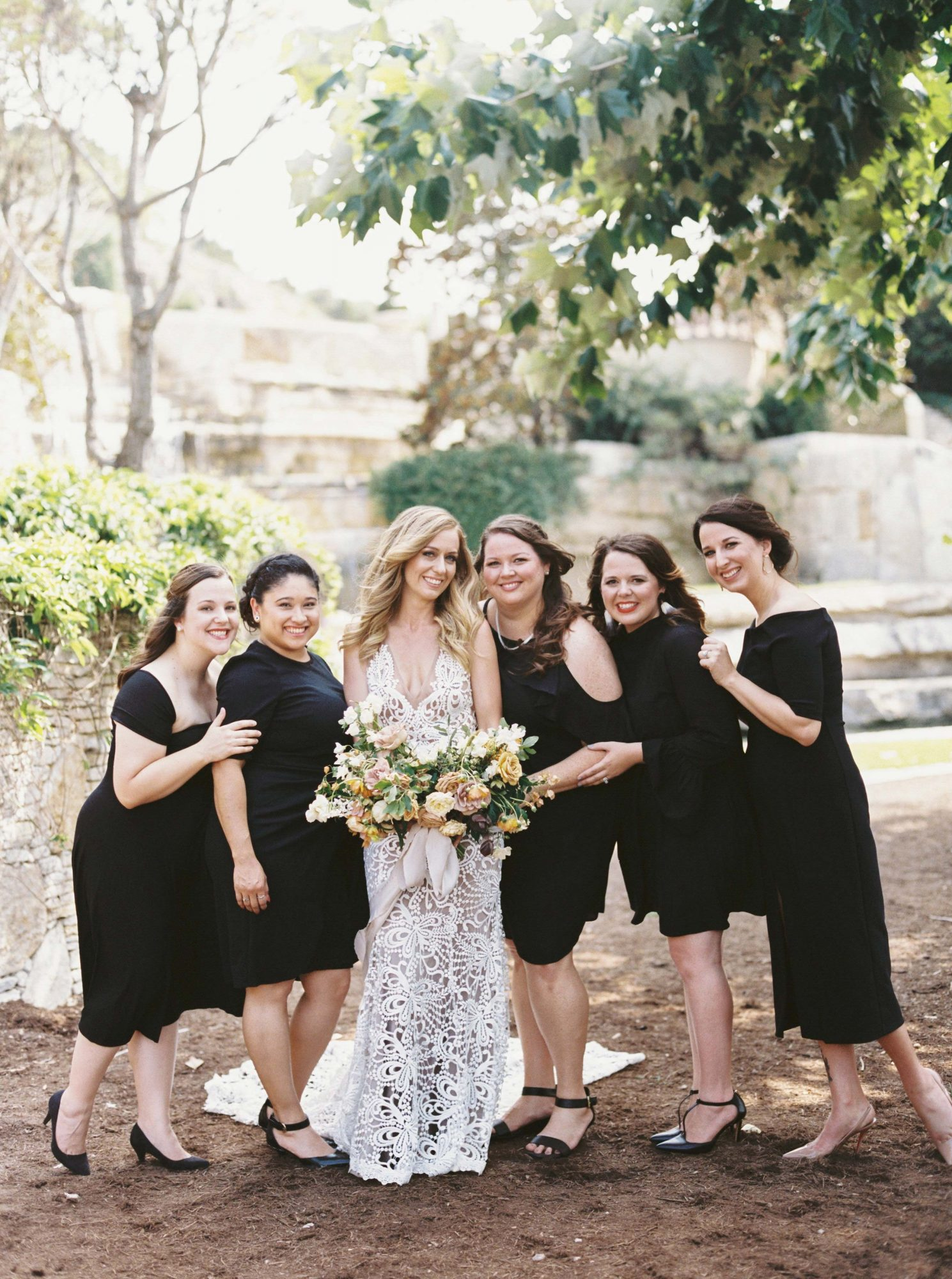 bridesmaids bride black dresses