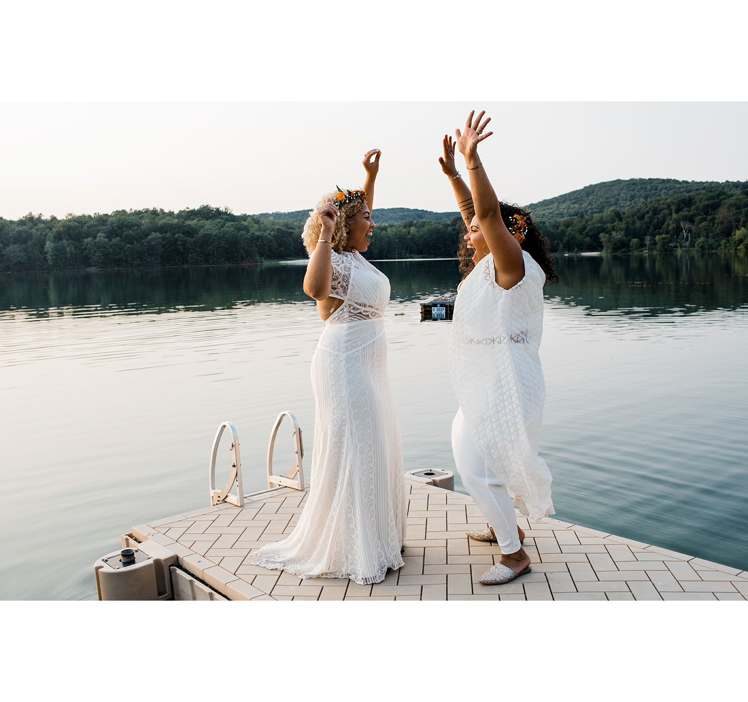 These casual BHLDN (left) and Ashaka Givens (right) ensembles were comfortable enough that the brides could jump for joy in them.