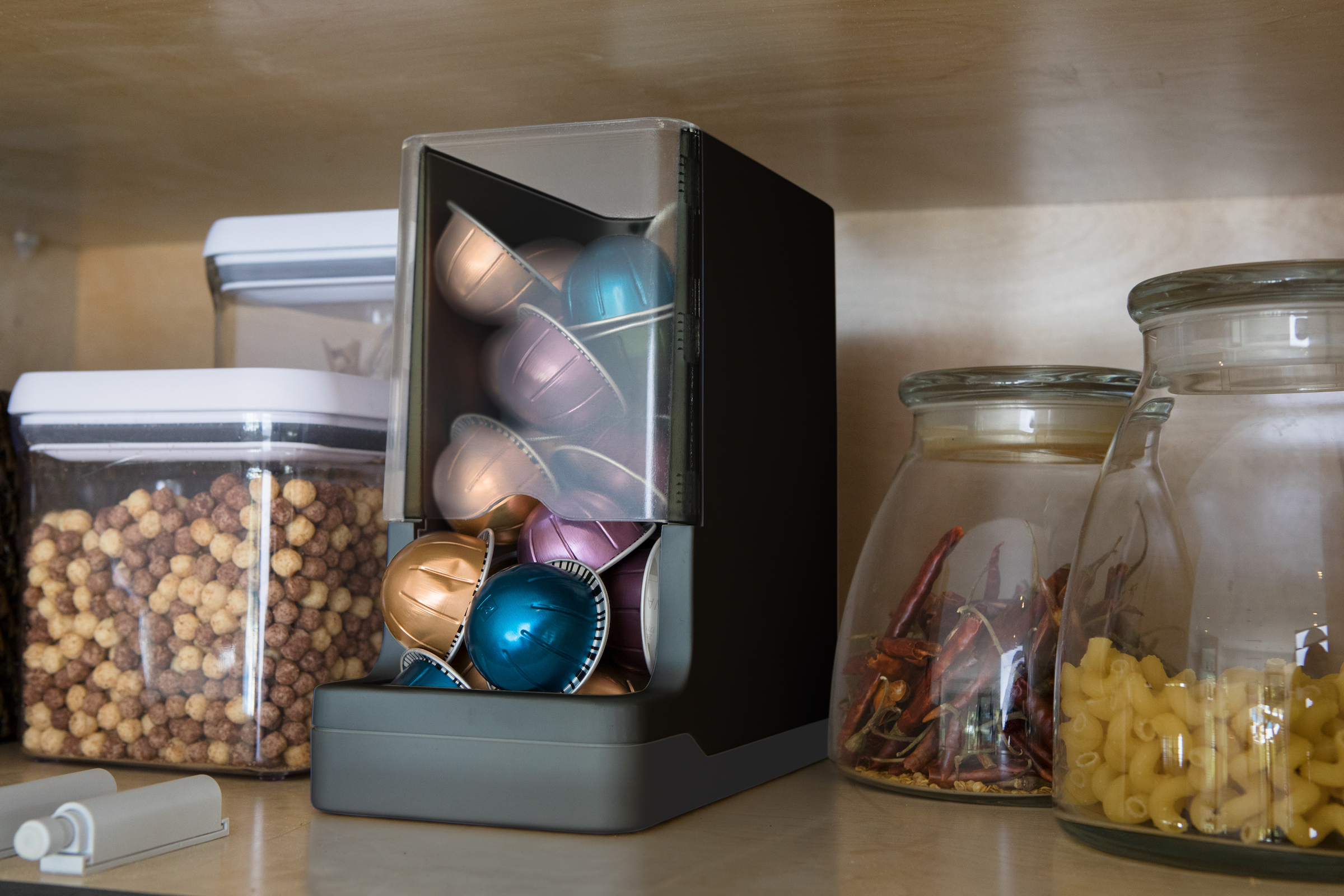 The WePlenish system sits in a pantry.