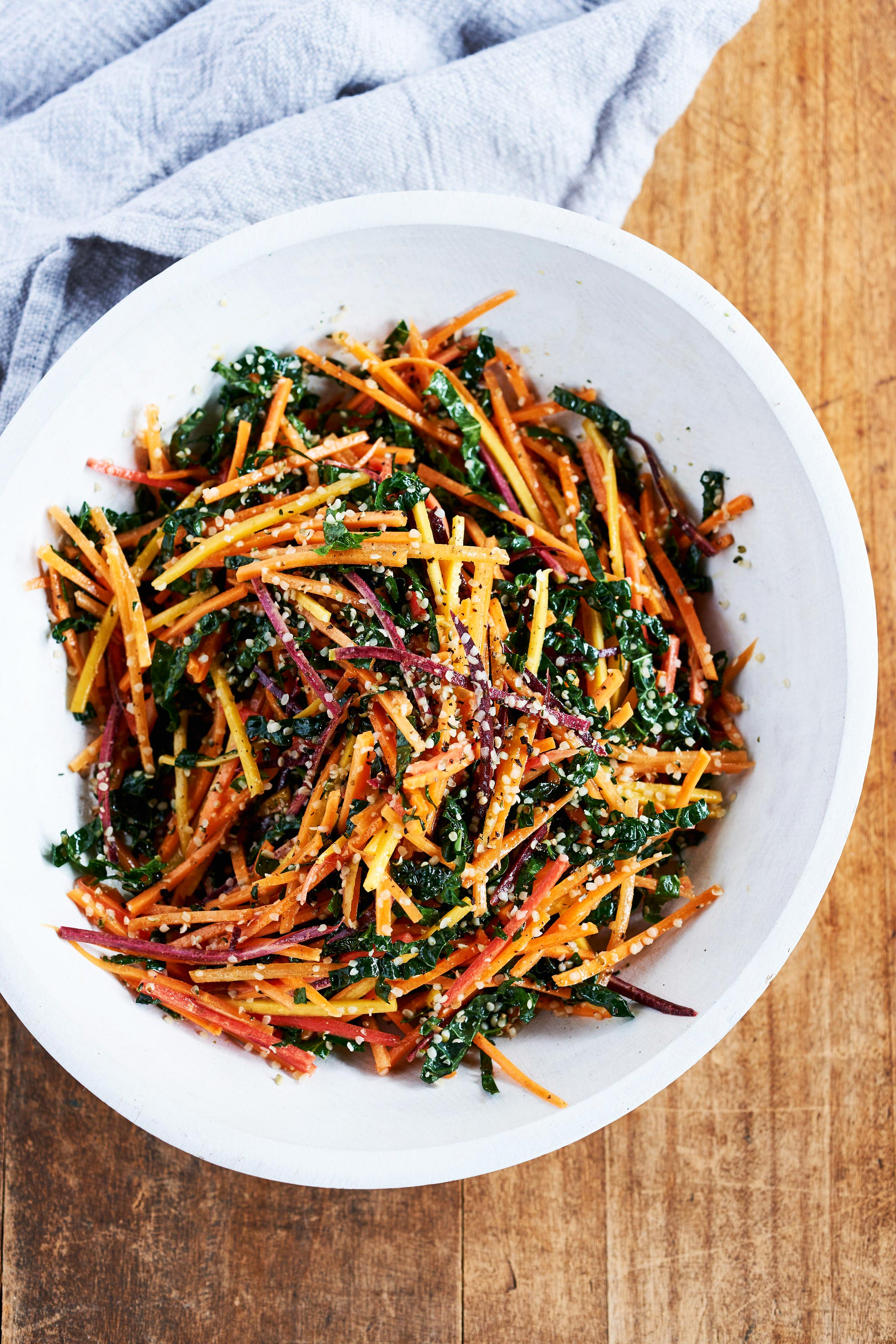 julienned carrot and kale salad