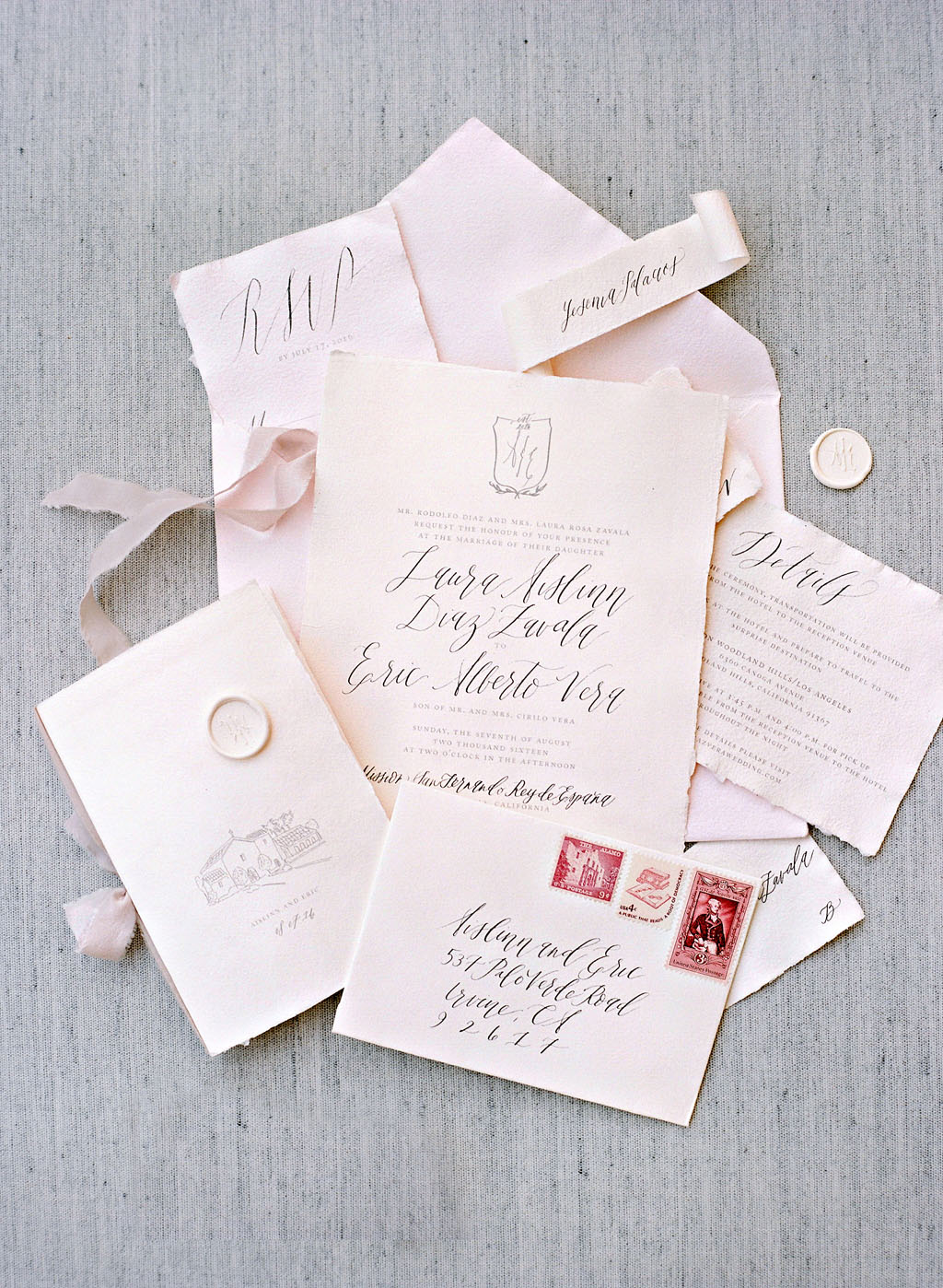 aislinn eric wedding malibu pink stationery