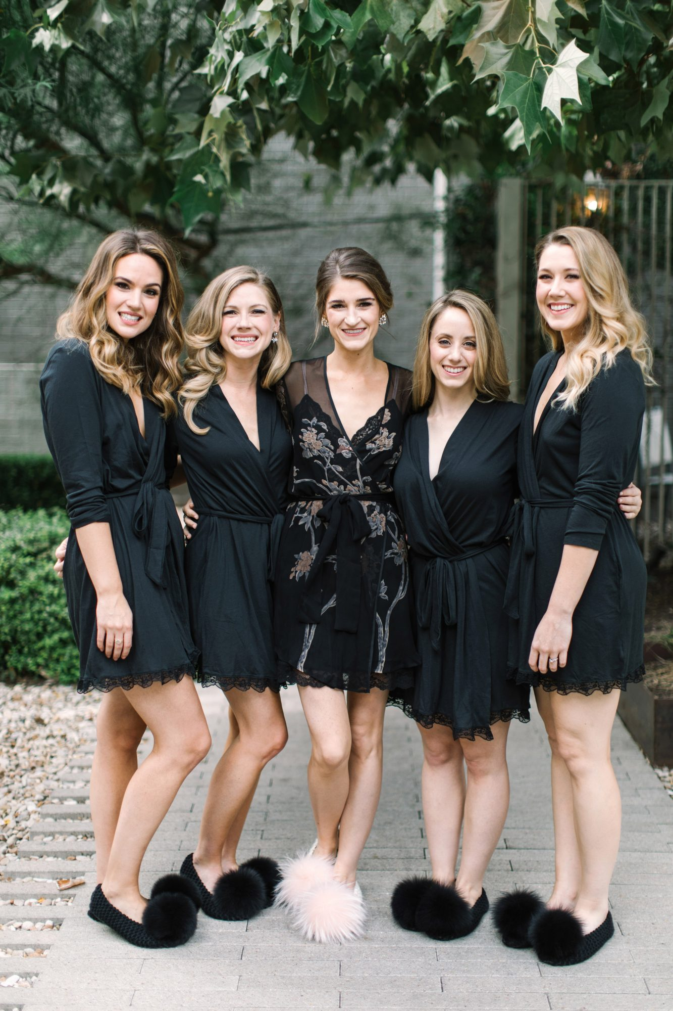wedding bridesmaids black robes fuzzy slippers