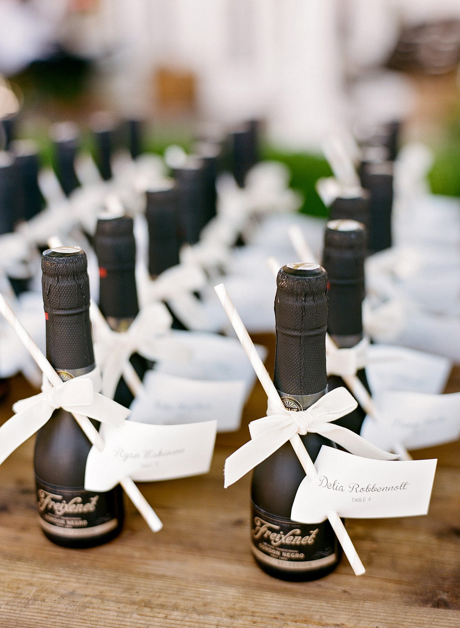 alcohol escort cards mini bottles with paper straws