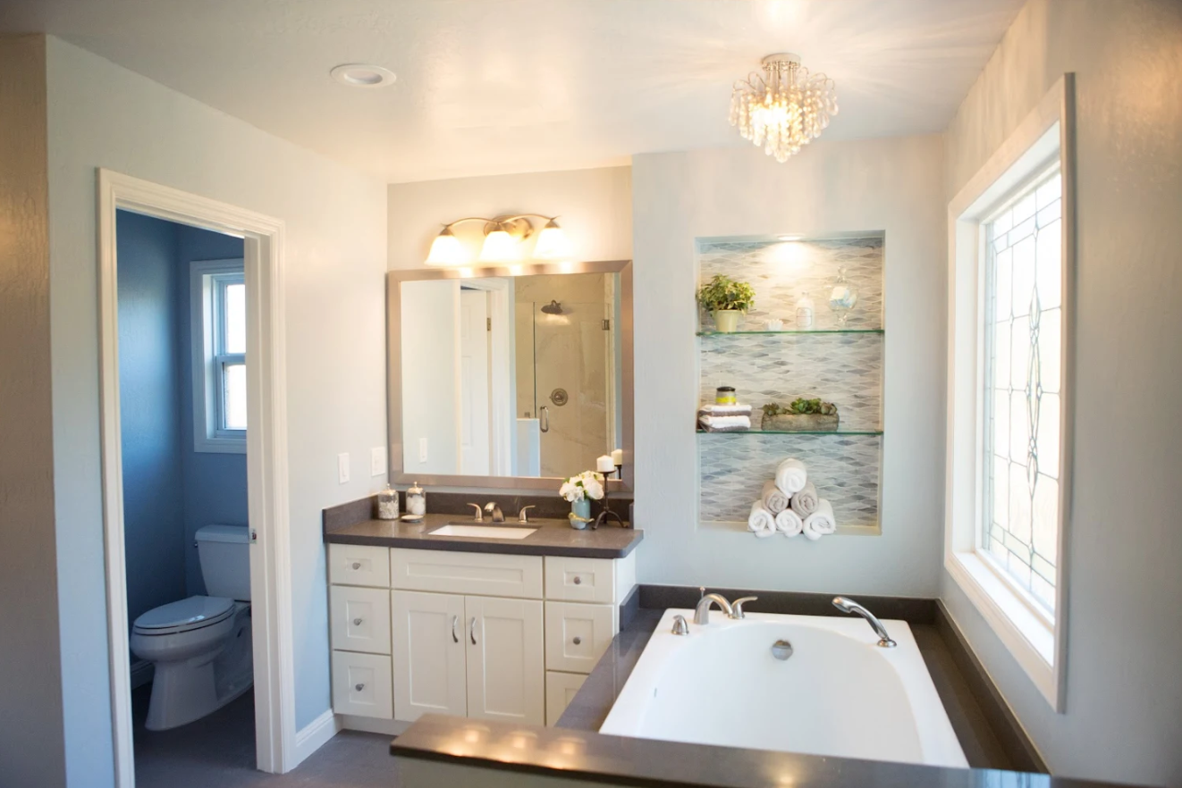 bathroom makeover large window by tub with updated vanity