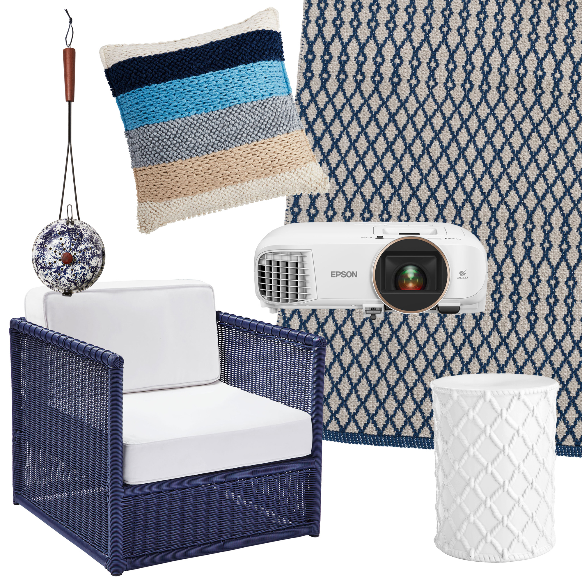 great finds chair rug table pillow projector