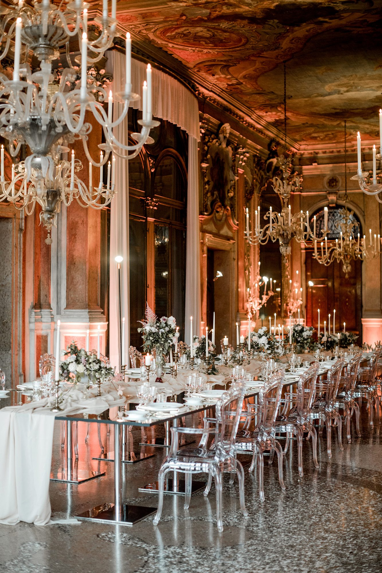 elle raymond venice wedding banquet tables chandeliers