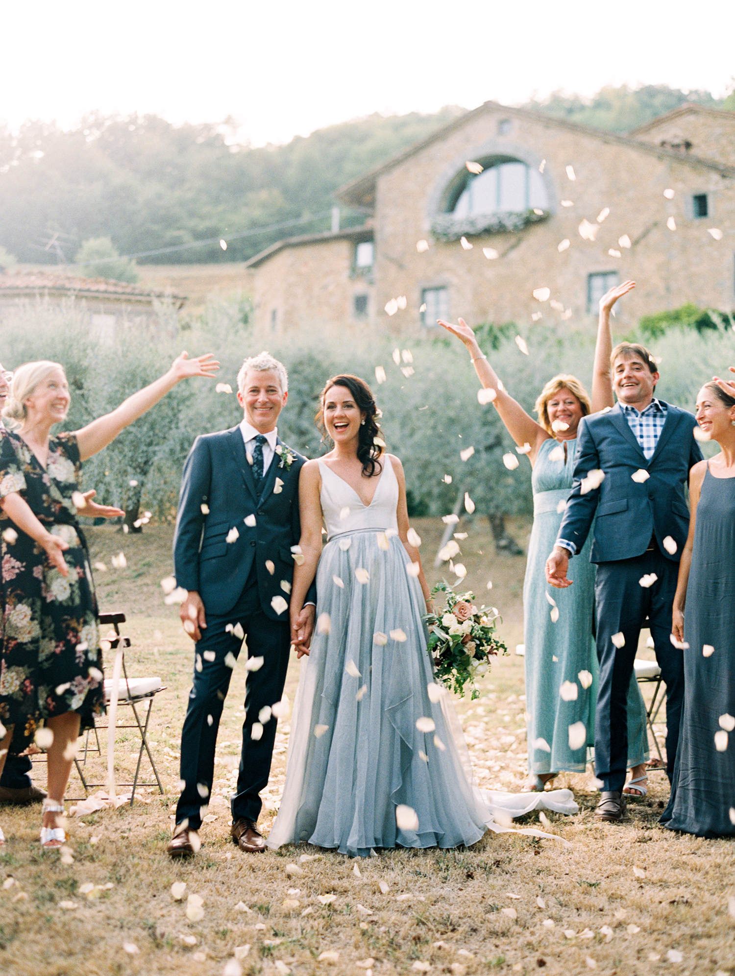 kelly pete wedding recessional guests and petal toss