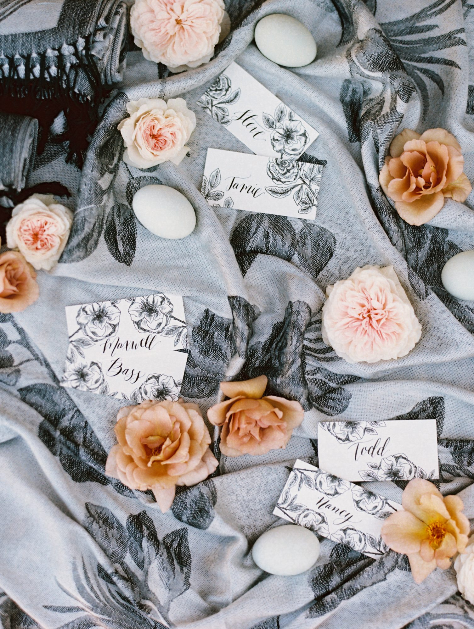 surprise wedding arranged calligraphed place cards