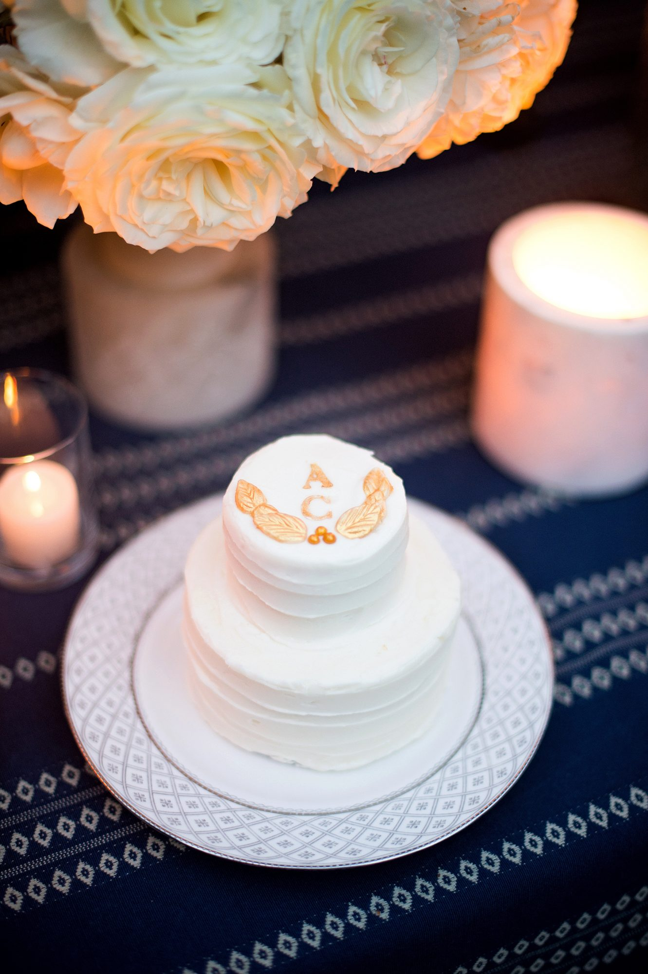 charles andrew wedding grooms cake with gold monogram