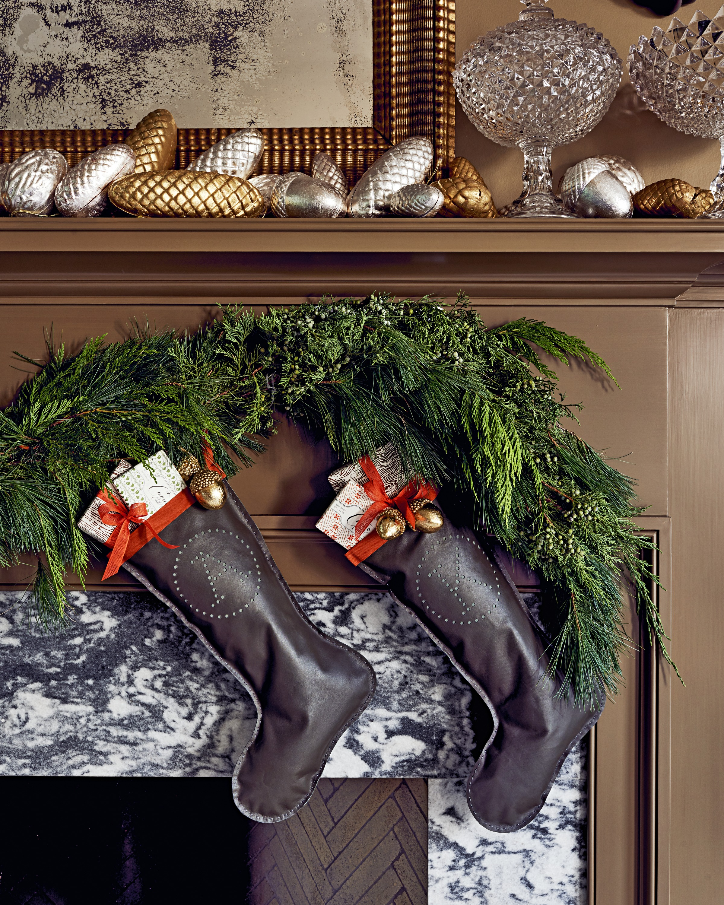 leather stockings on mantle
