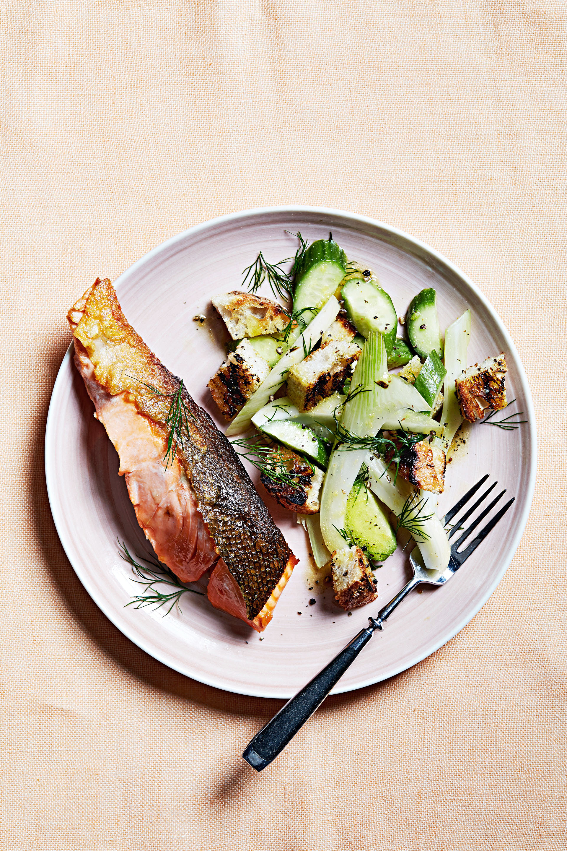 grilled salmon with rye panzanella