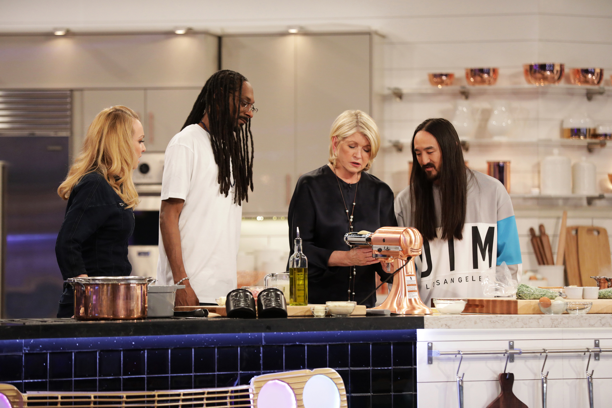 martha and snoop using mixer with celebrity guests