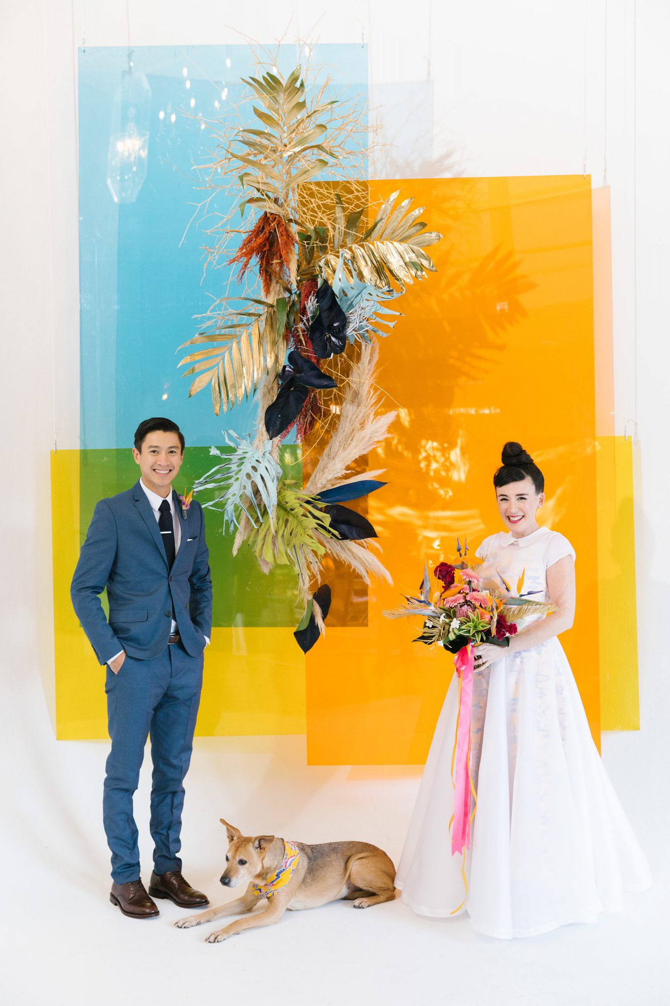 tashina huy colorful wedding couple dog backdrop