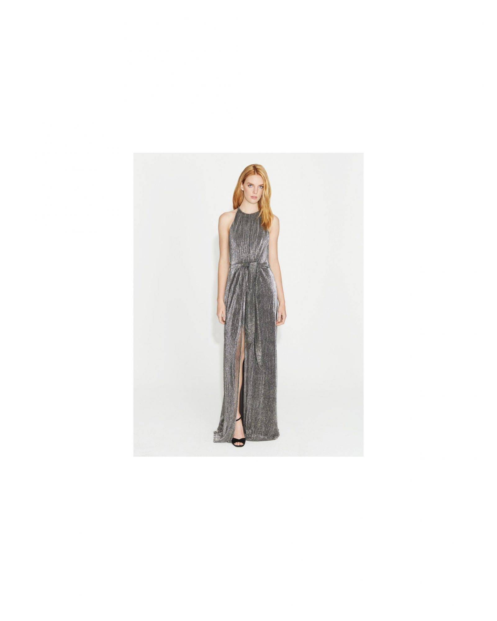 grey silver bridesmaid dresses halston heritage lurex jersey gown