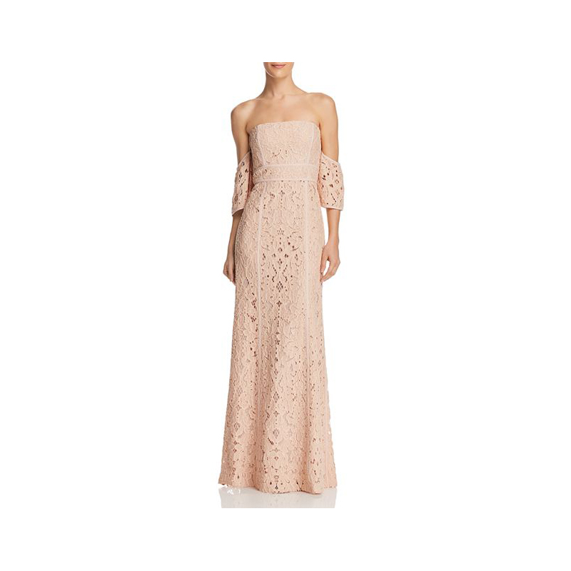 Pink Mother of the Bride Dresses, Off-the-Shoulder Lace Gown by BCBG