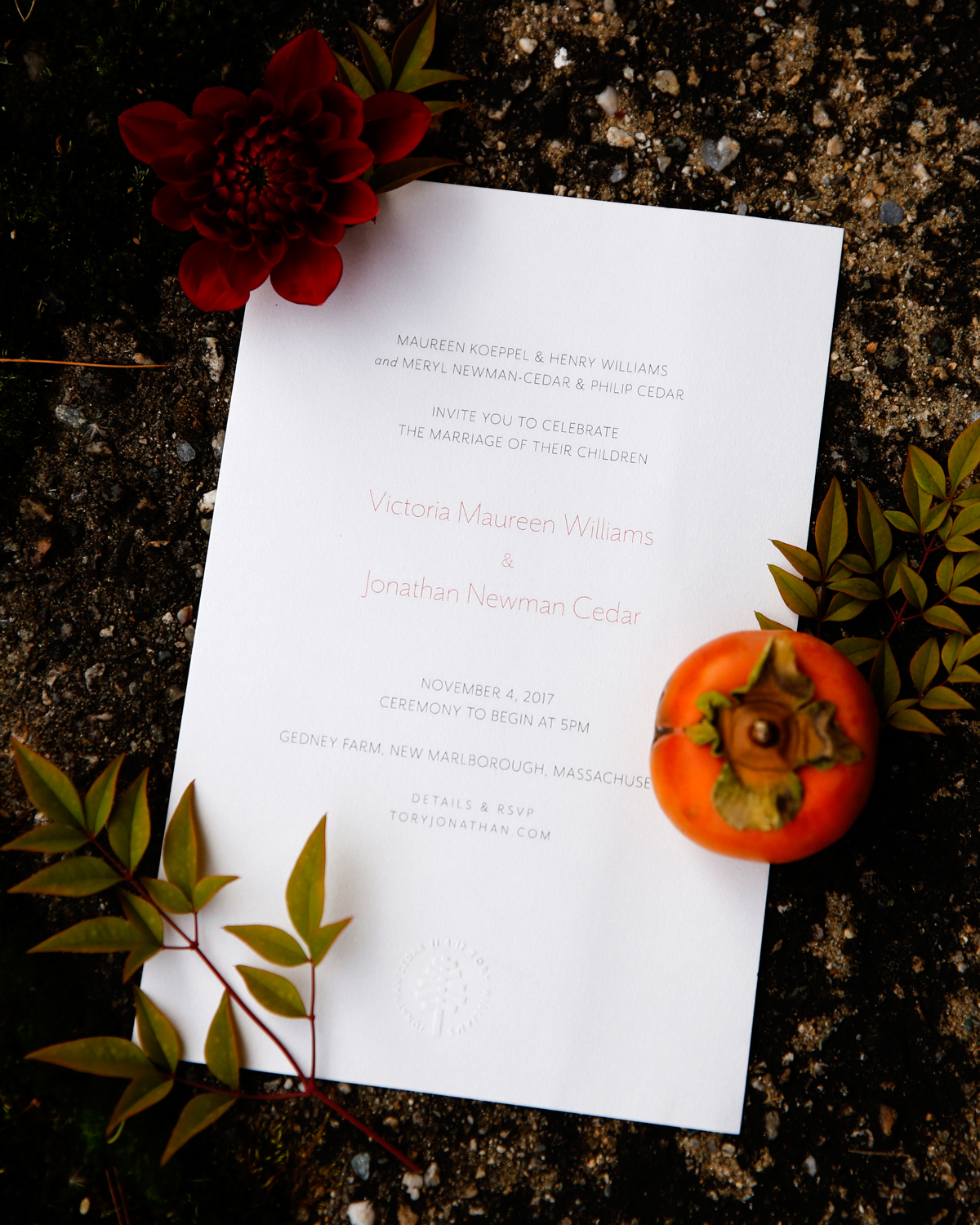 tory jonathan wedding invite with tomato