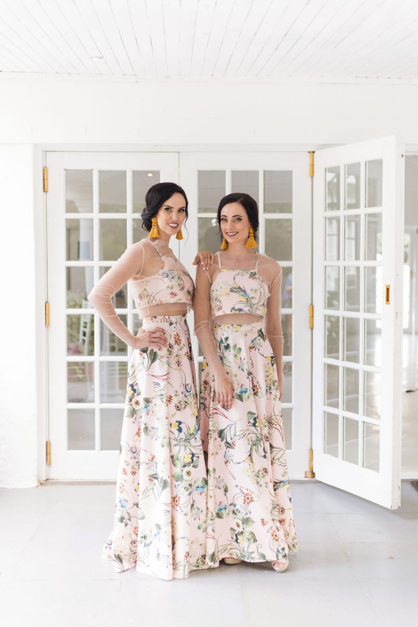 two piece bridesmaids cara faye weddings floral