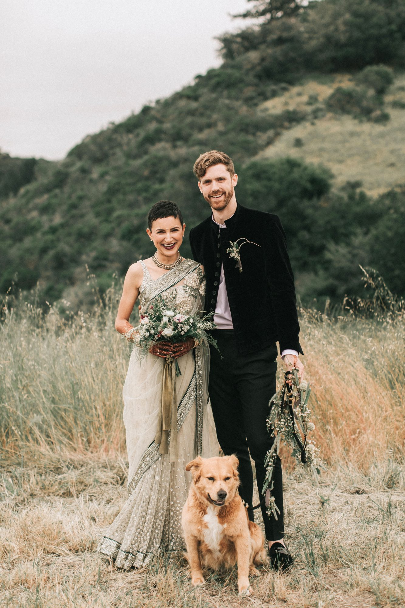 zai phil camping wedding couple dog