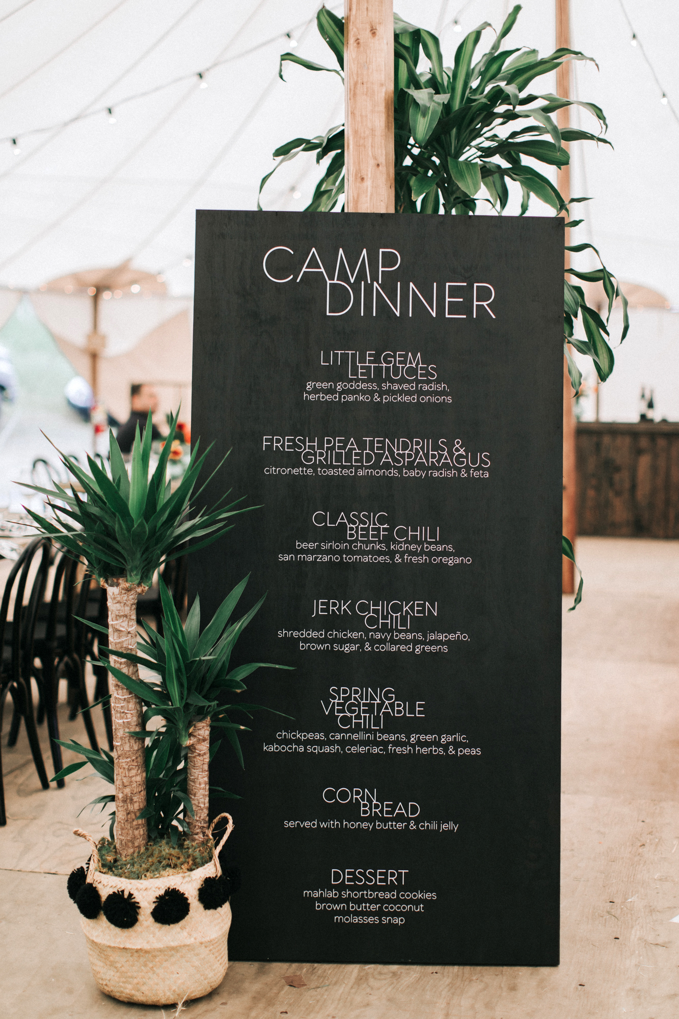 zai phil camping wedding welcome dinner menu chalkboard