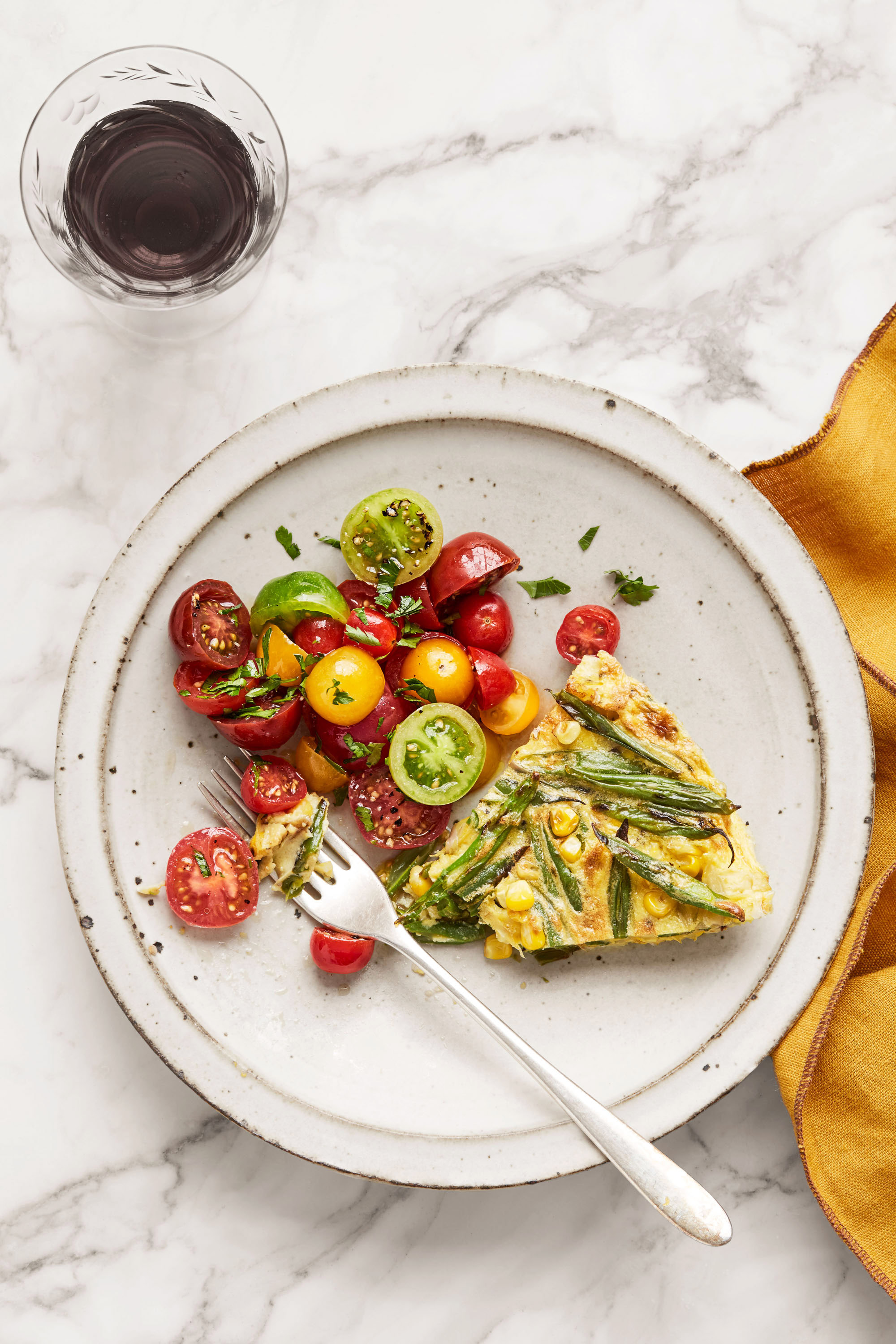 blistered green-bean and corn frittata plate and fork
