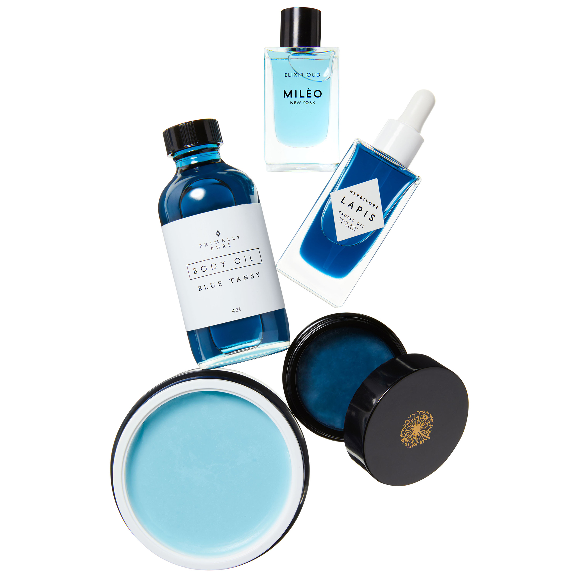 blue swoon beauty products collage