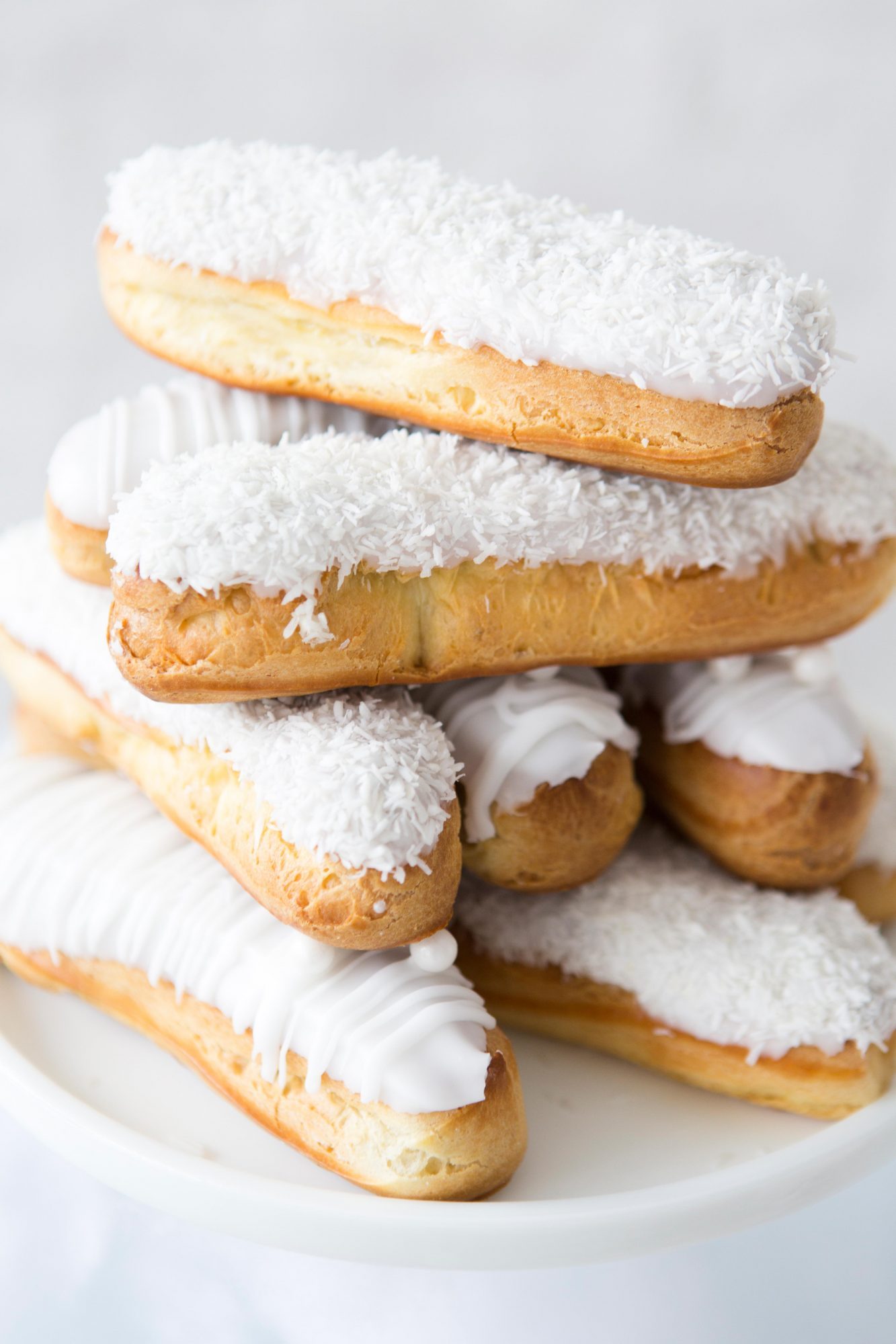 eclairs with white frosting