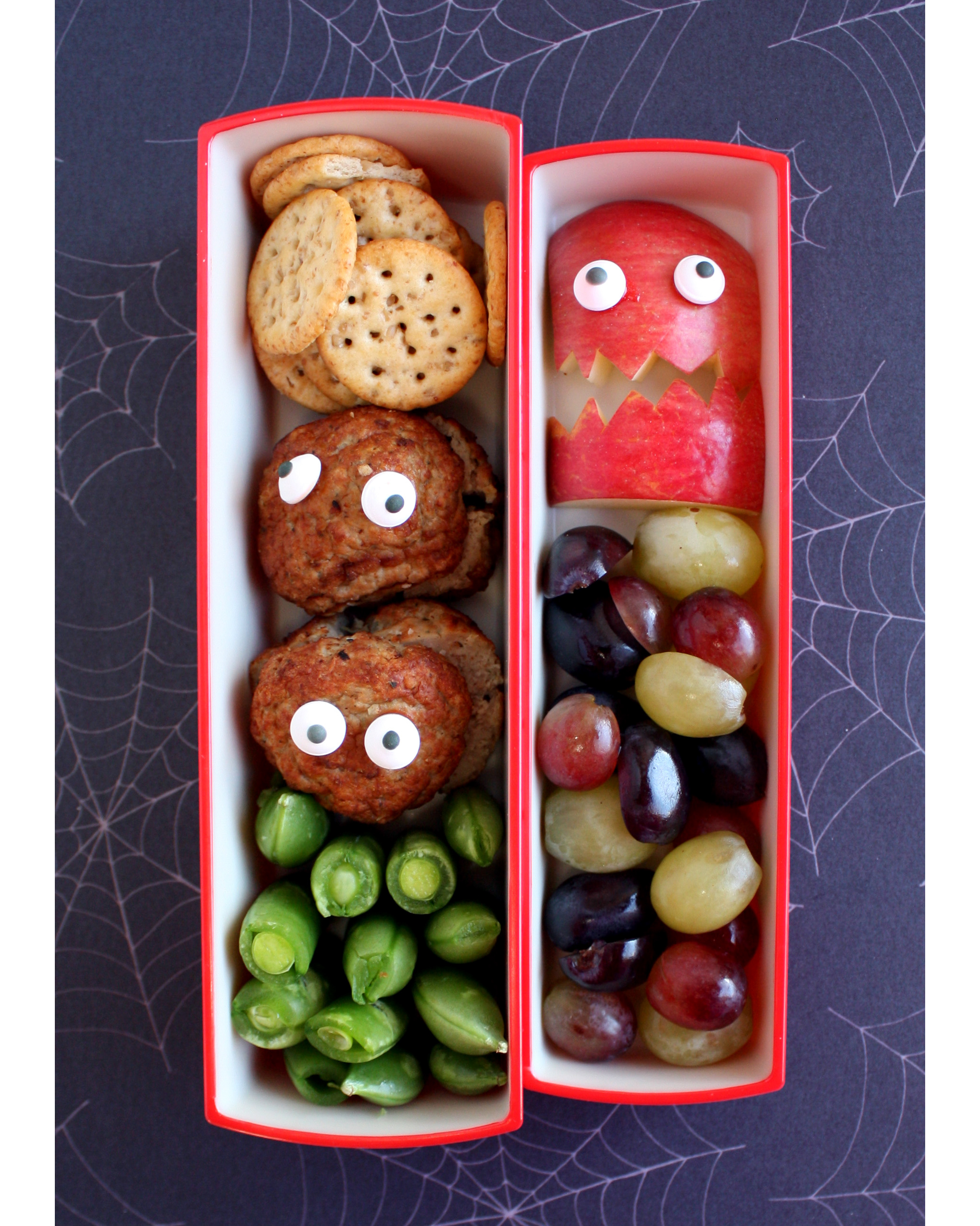 bento box monster eyes apple meatball