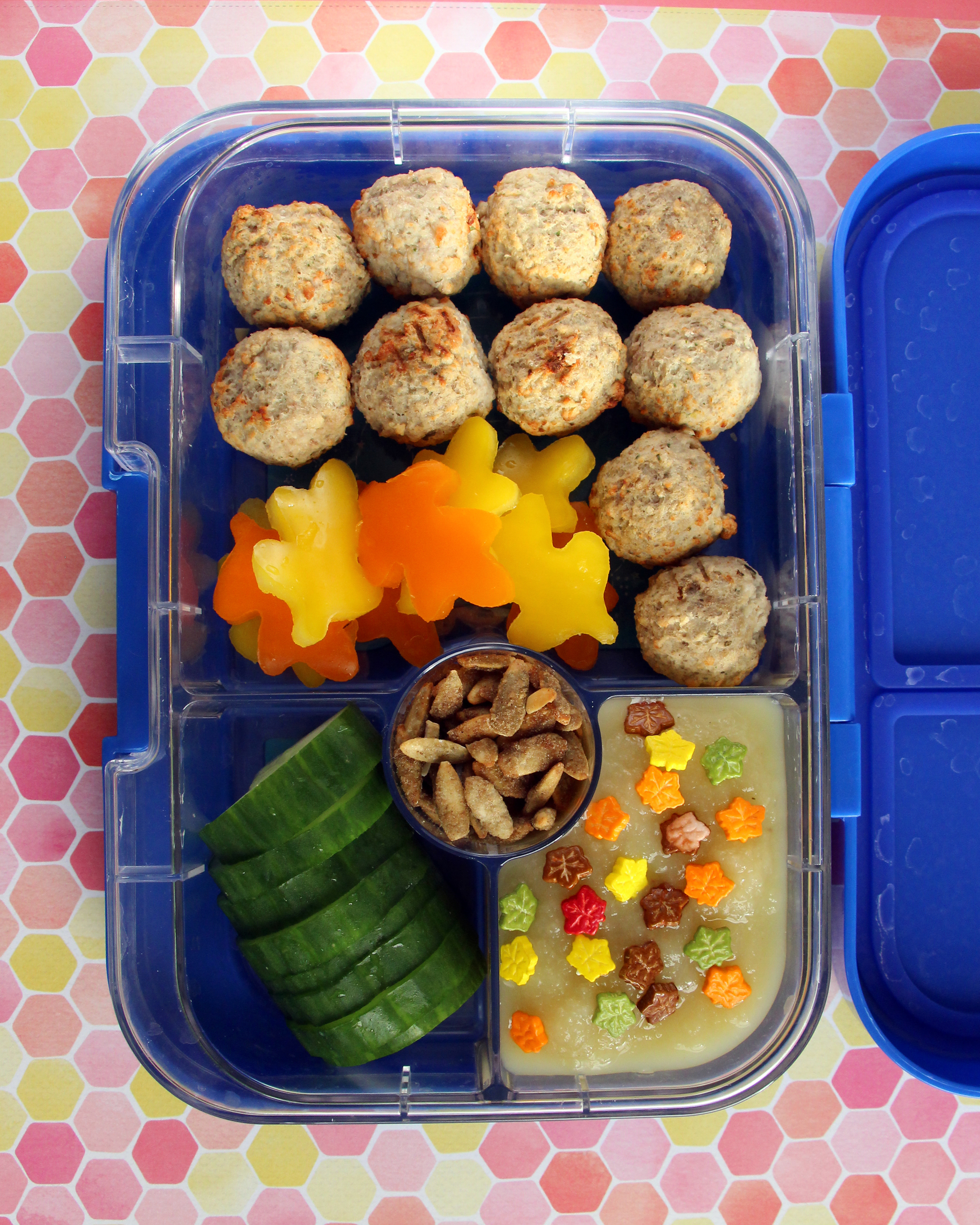 bento box meatballs applesauce