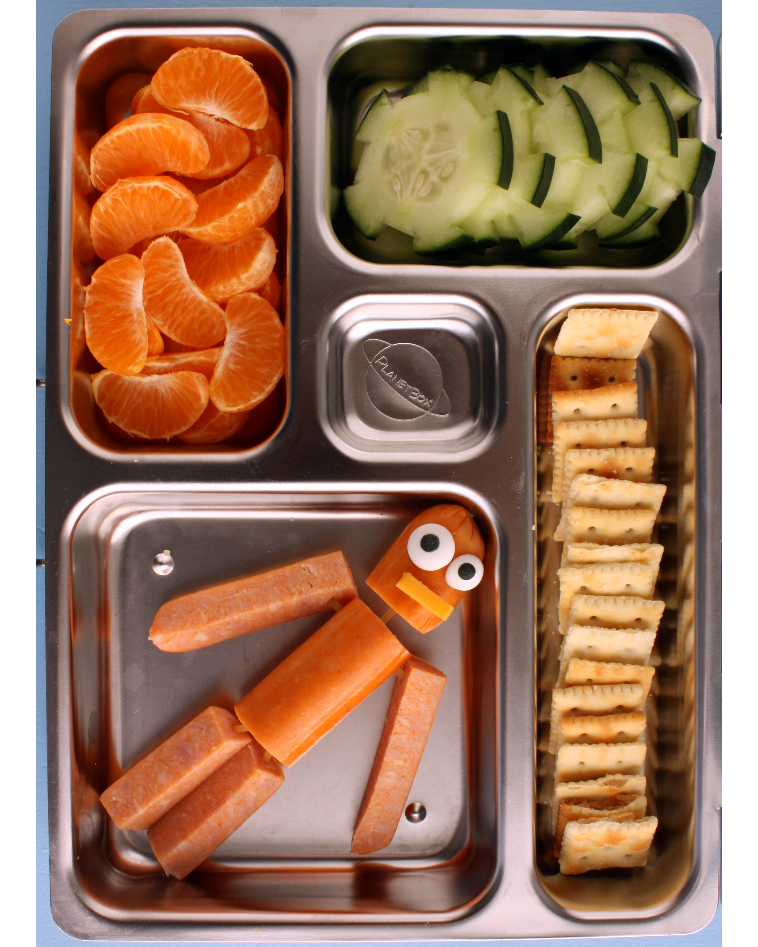 bento box robot hotdog crackers