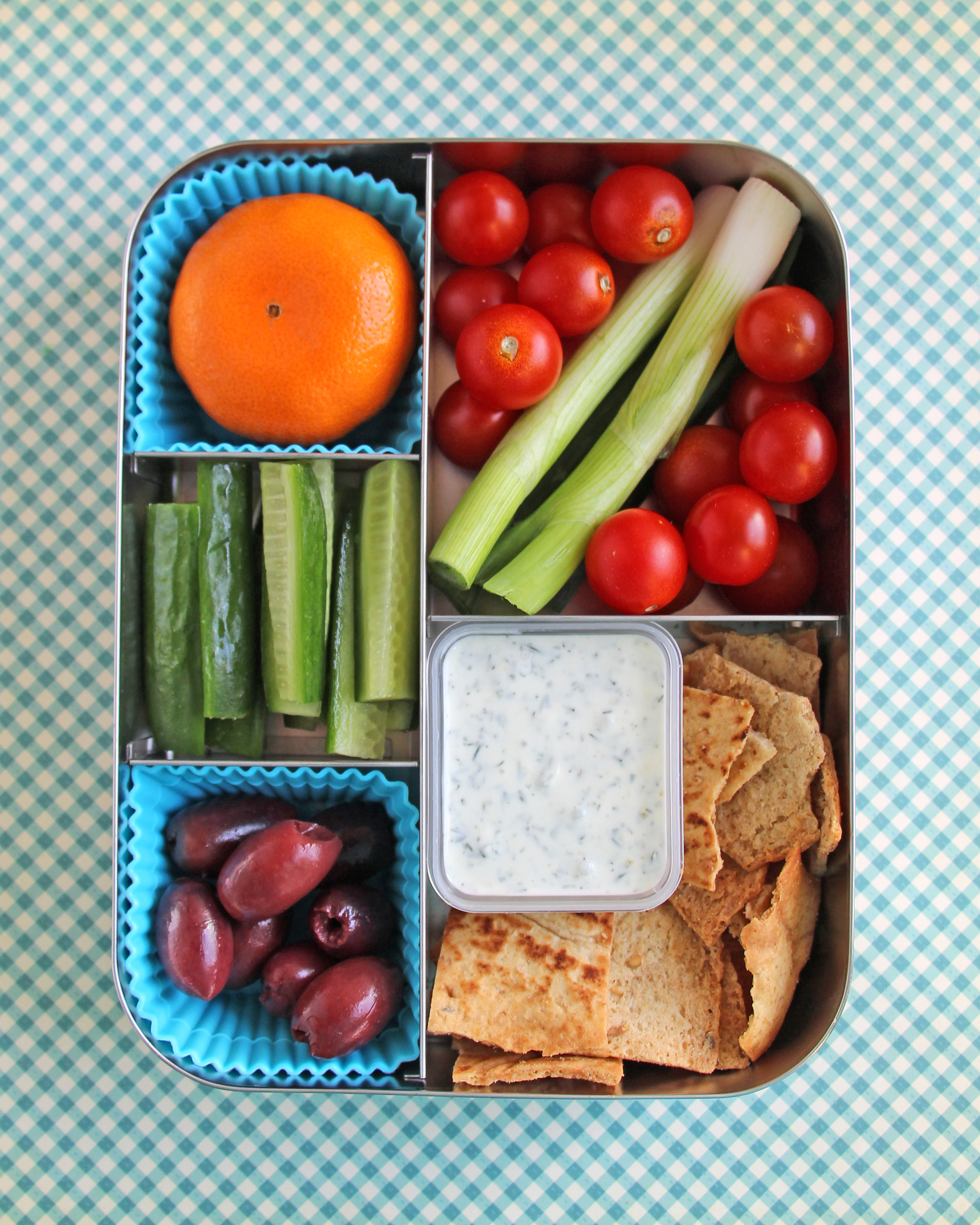 bento box greek dippers pita tzatziki veggies olives